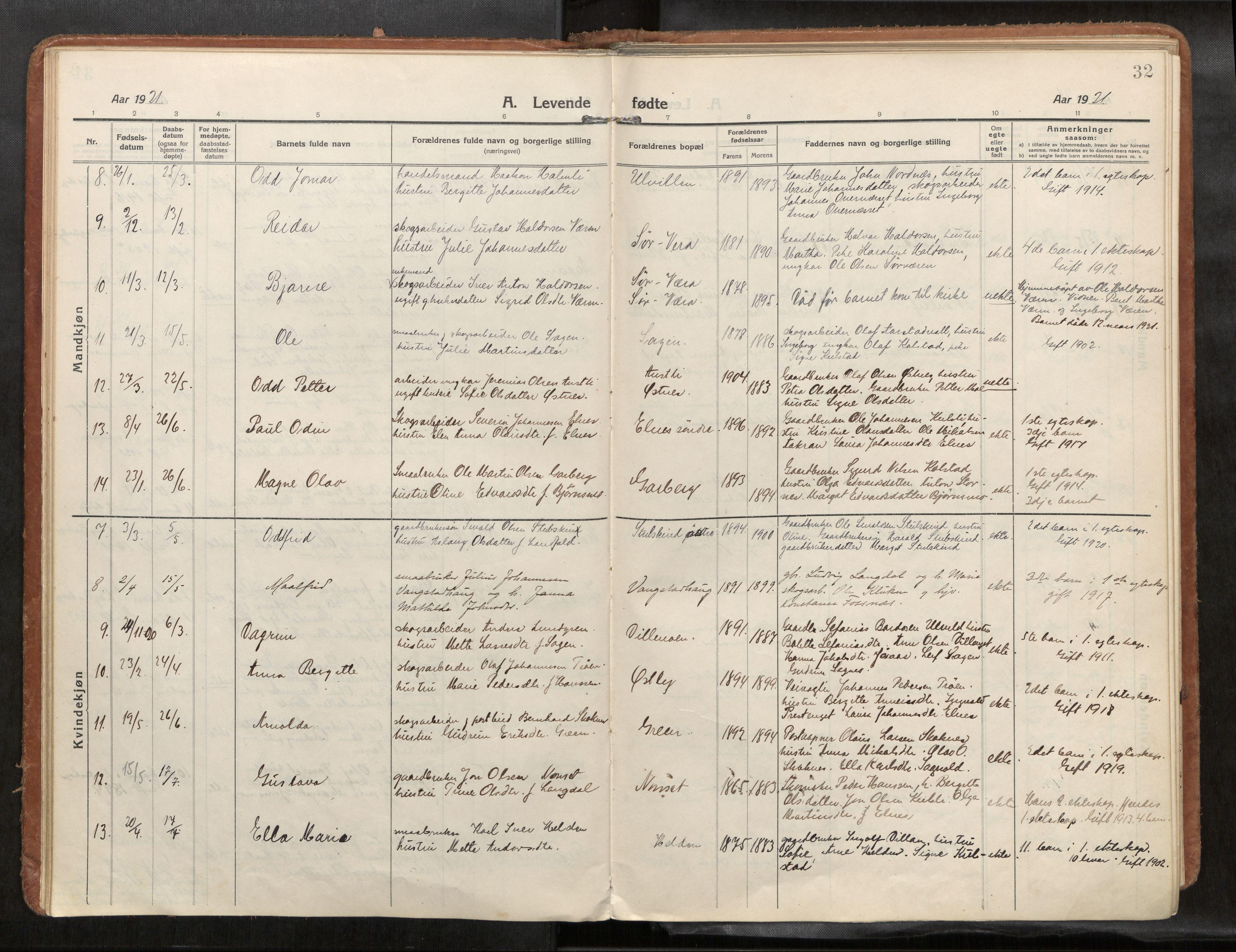 SAT, Verdal sokneprestkontor*, Ministerialbok nr. 1, 1916-1928, s. 32