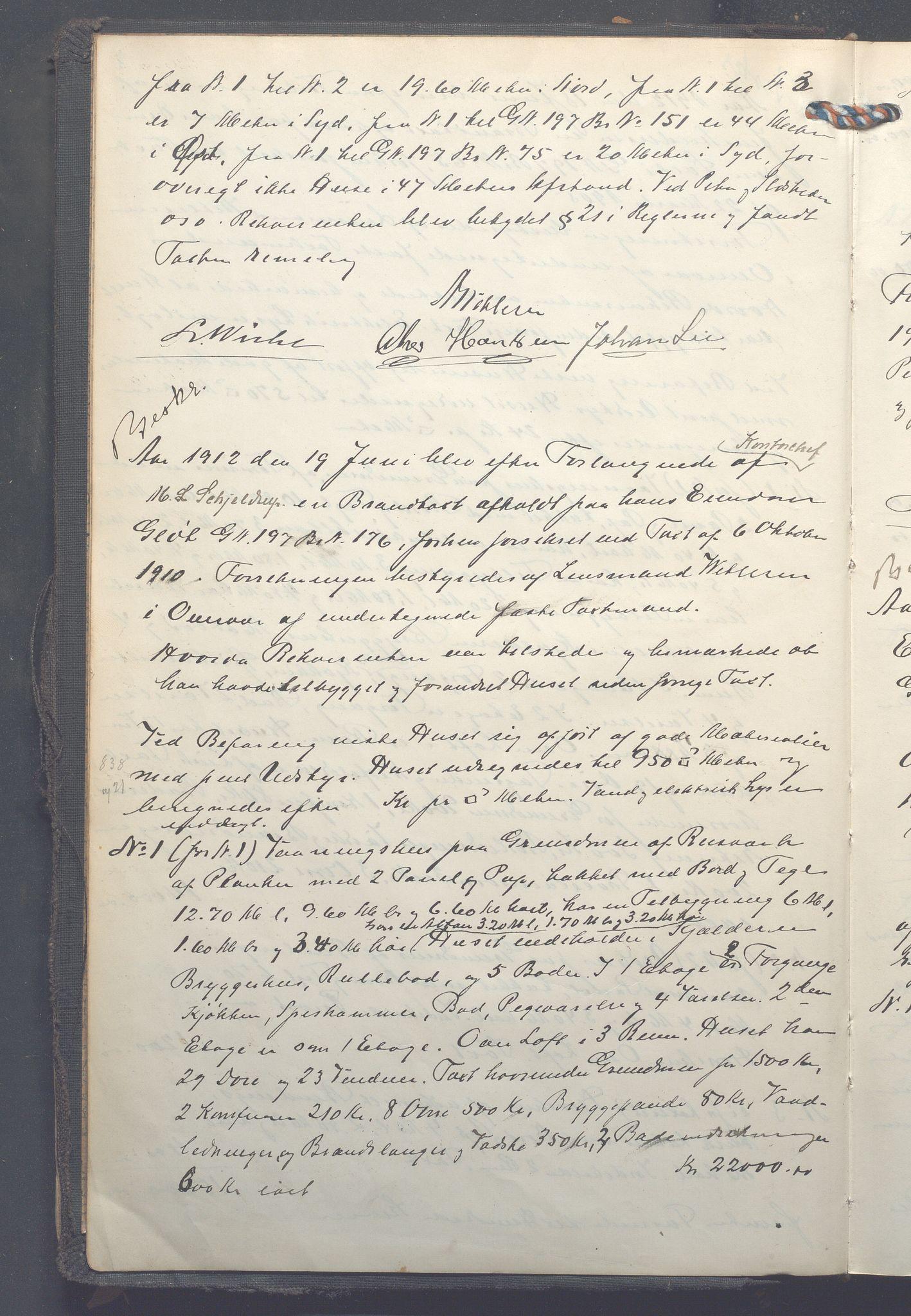 OBA, Lensmennene i Aker, F/Fc/L0013: Branntakstprotokoll, 1912-1916, s. 1b