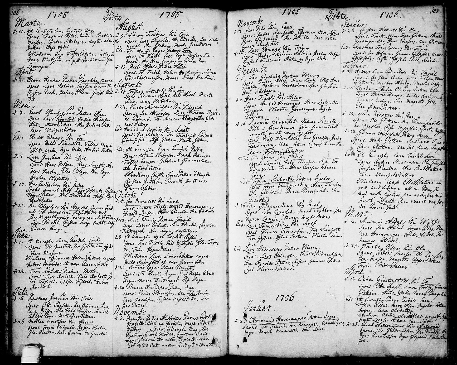 SAKO, Bamble kirkebøker, F/Fa/L0001: Ministerialbok nr. I 1, 1702-1774, s. 106-107