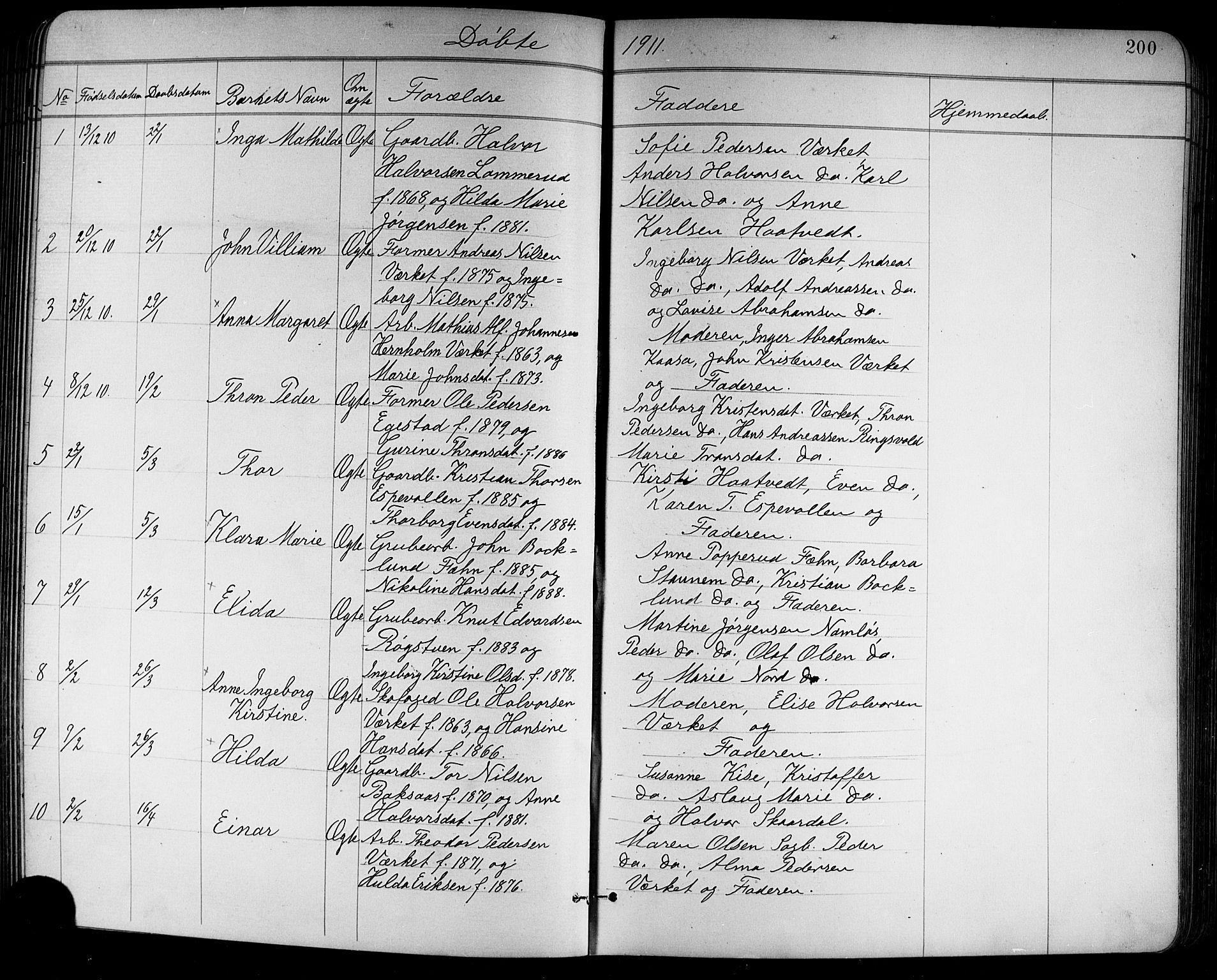 SAKO, Holla kirkebøker, G/Ga/L0005: Klokkerbok nr. I 5, 1891-1917, s. 200