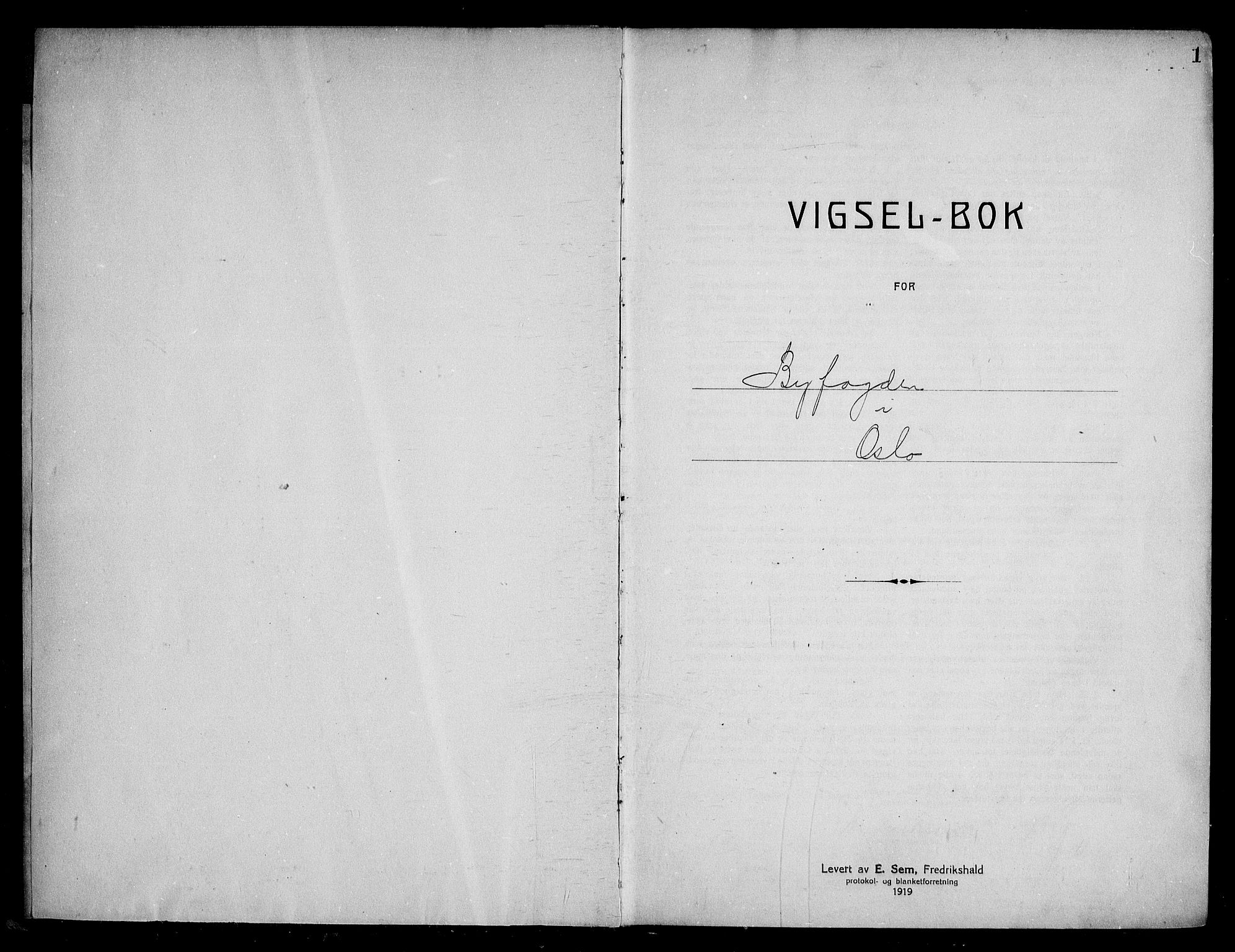 SAO, Oslo byfogd avd. I, L/Lb/Lbb/L0019: Notarialprotokoll, rekke II: Vigsler, 1928-1929, s. 1a