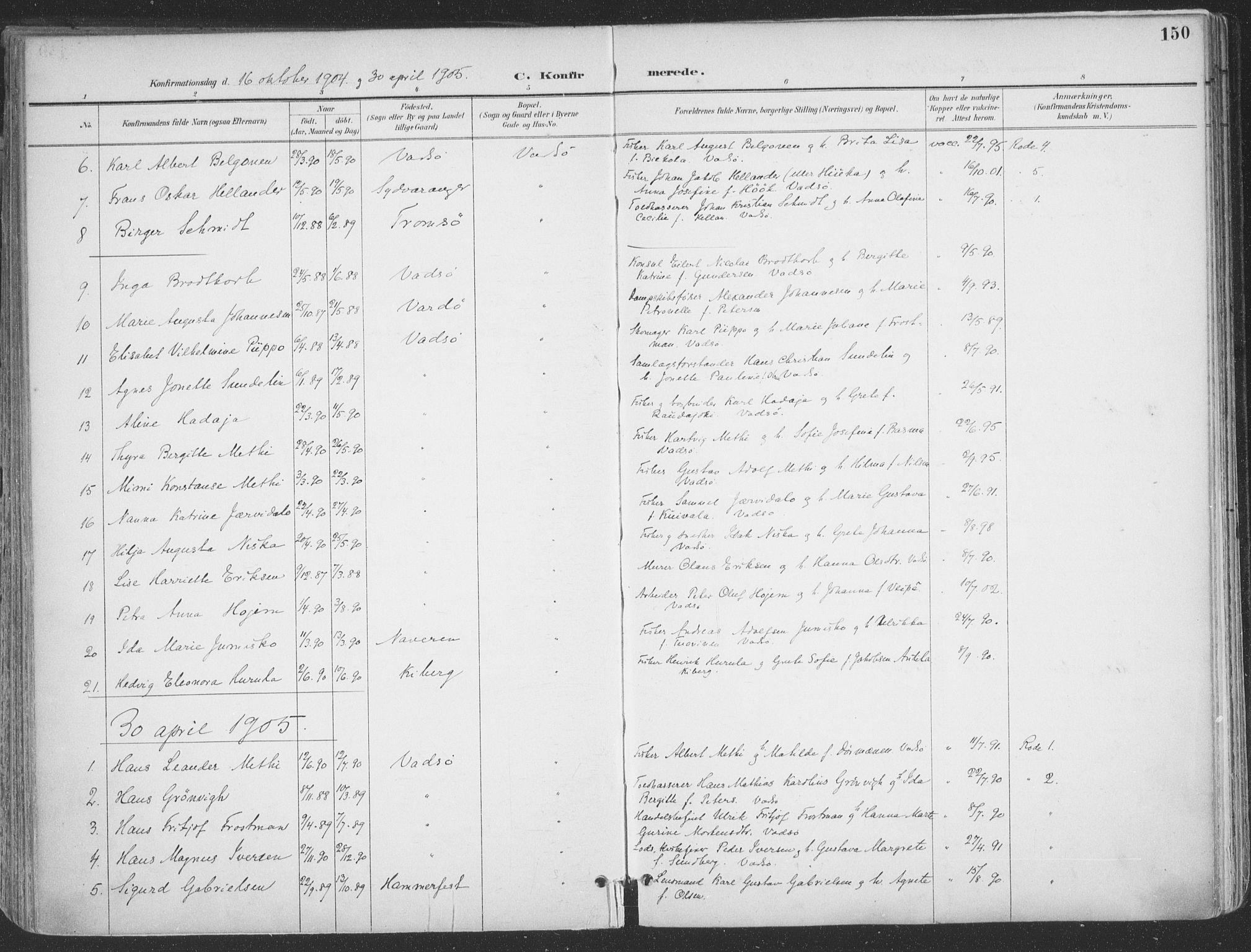 SATØ, Vadsø sokneprestkontor, H/Ha/L0007kirke: Ministerialbok nr. 7, 1896-1916, s. 150