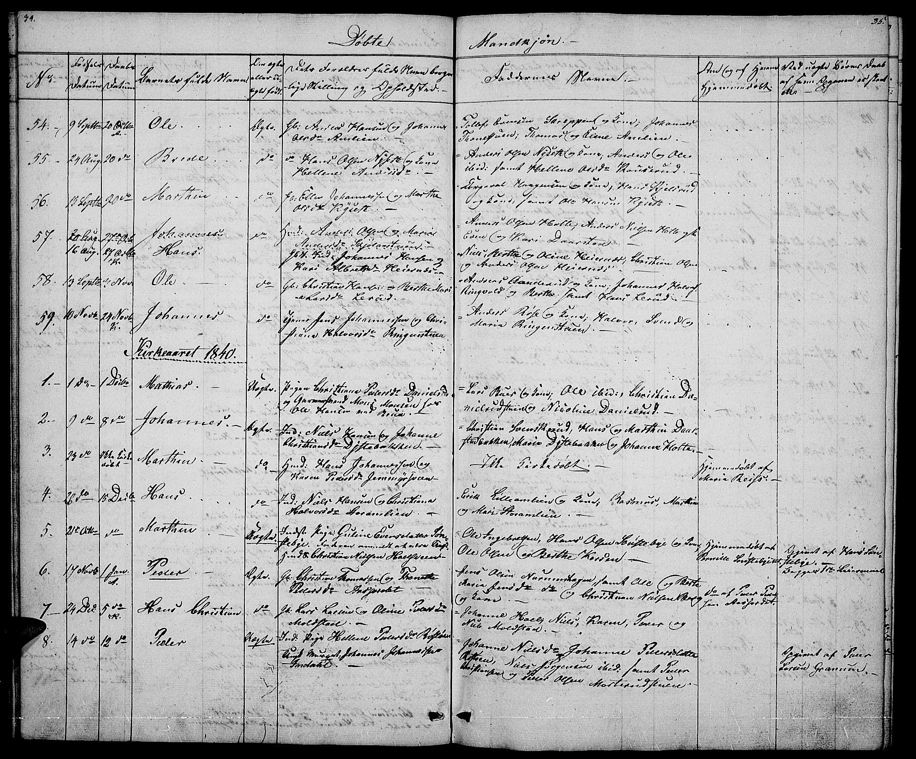 SAH, Vestre Toten prestekontor, H/Ha/Hab/L0002: Klokkerbok nr. 2, 1836-1848, s. 34-35