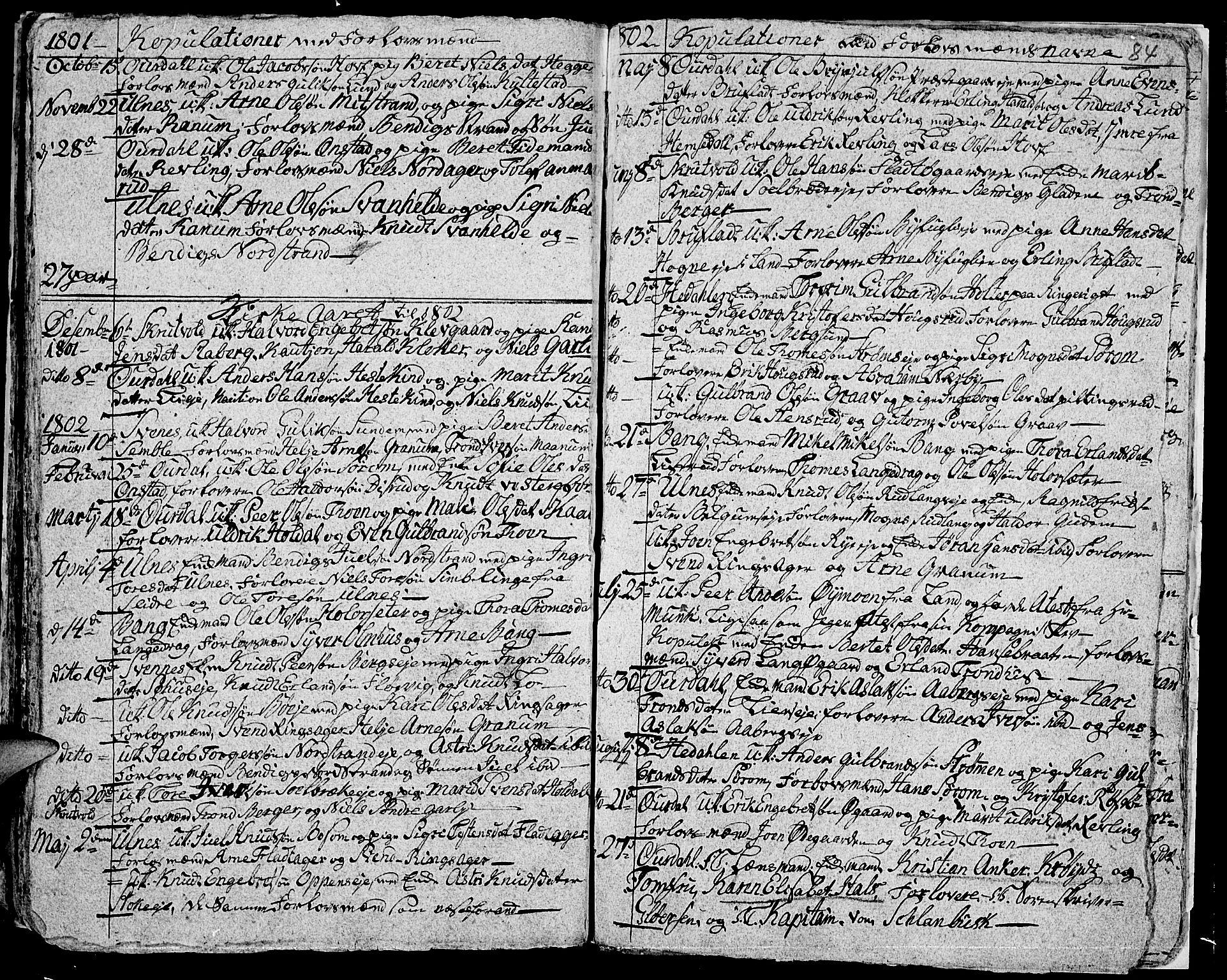 SAH, Aurdal prestekontor, Ministerialbok nr. 7, 1800-1808, s. 84