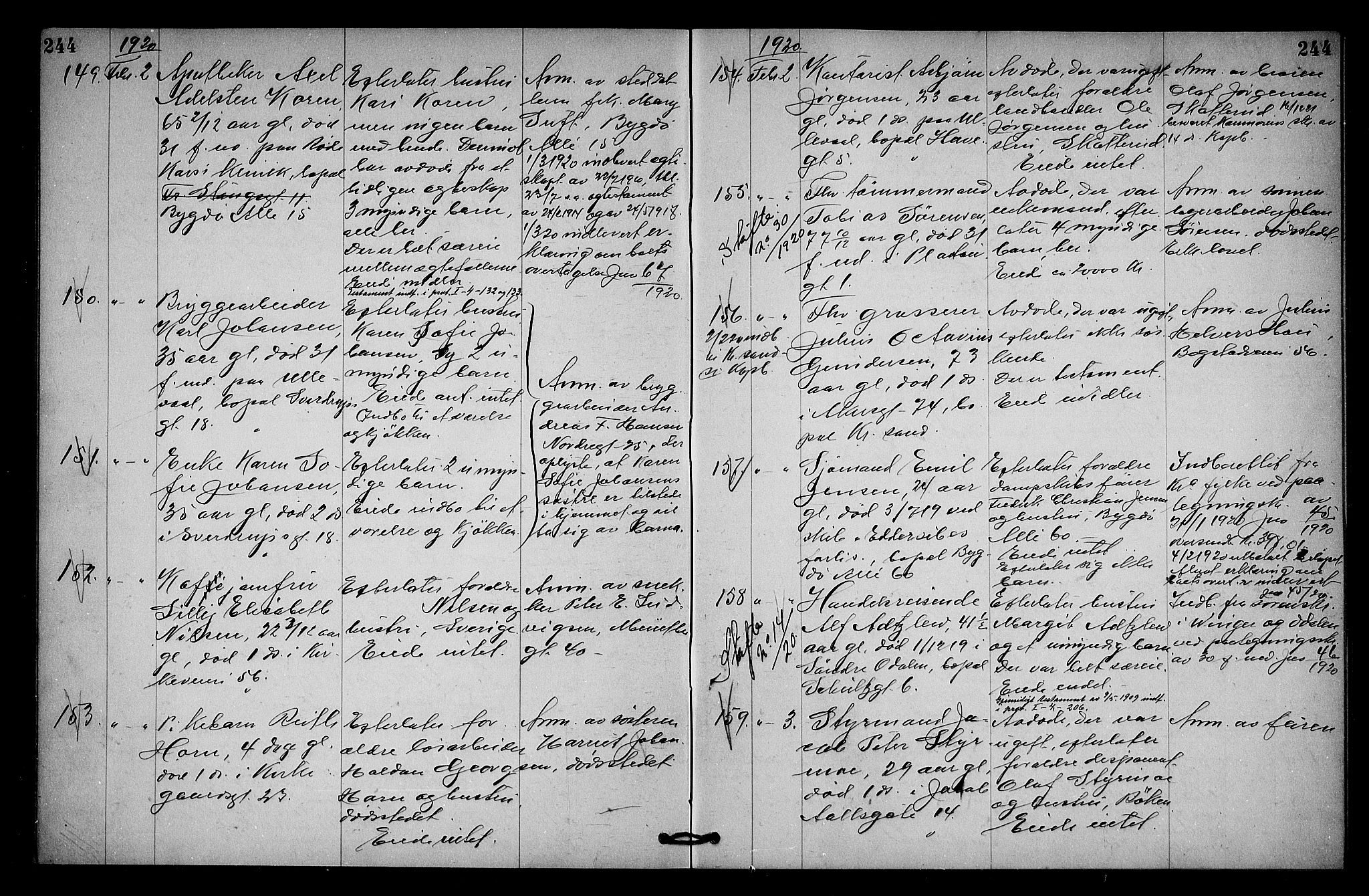 SAO, Oslo skifterett, G/Ga/Gab/L0010: Dødsfallsprotokoll, 1918-1920, s. 244