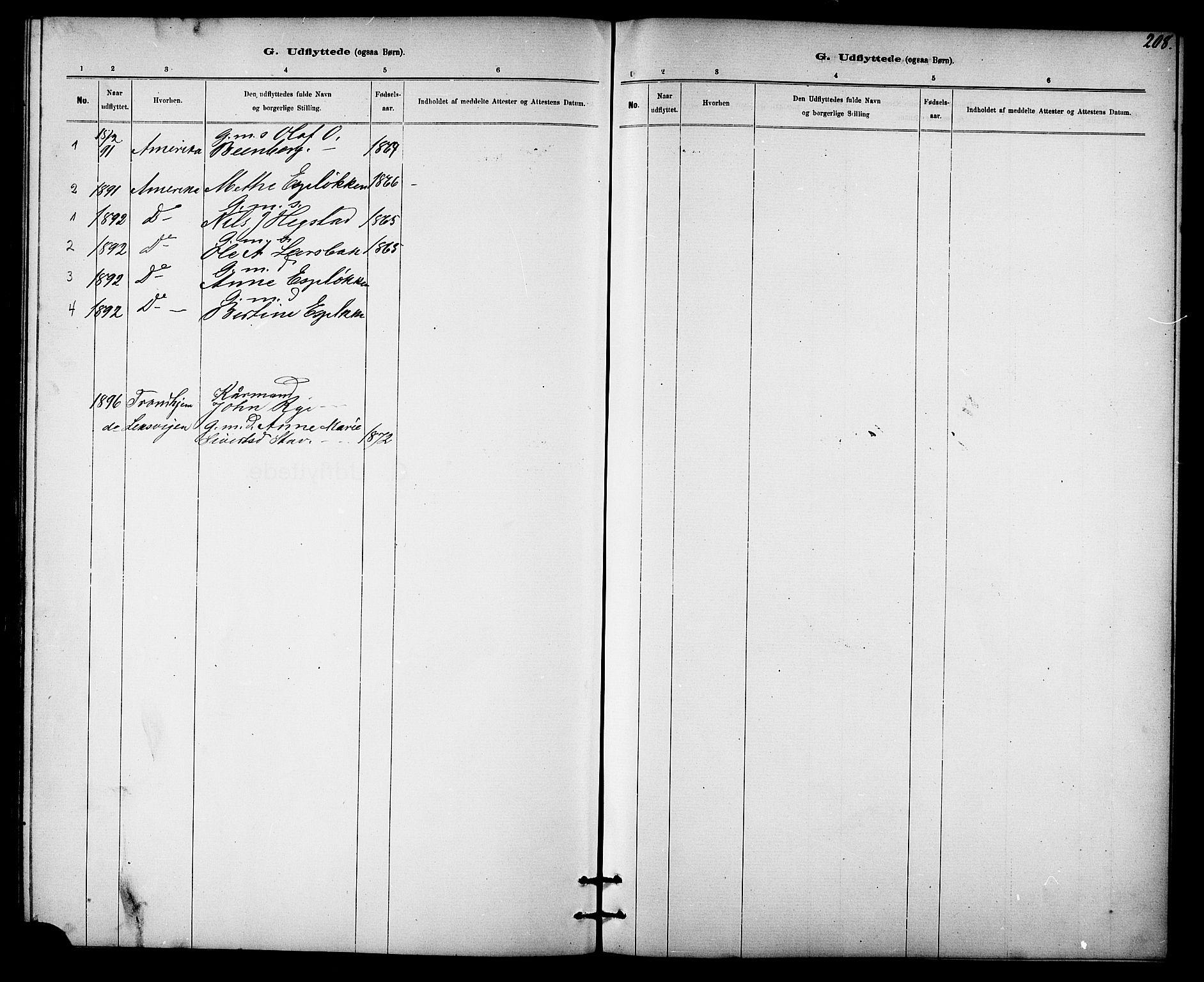 SAT, Ministerialprotokoller, klokkerbøker og fødselsregistre - Sør-Trøndelag, 613/L0395: Klokkerbok nr. 613C03, 1887-1909, s. 208