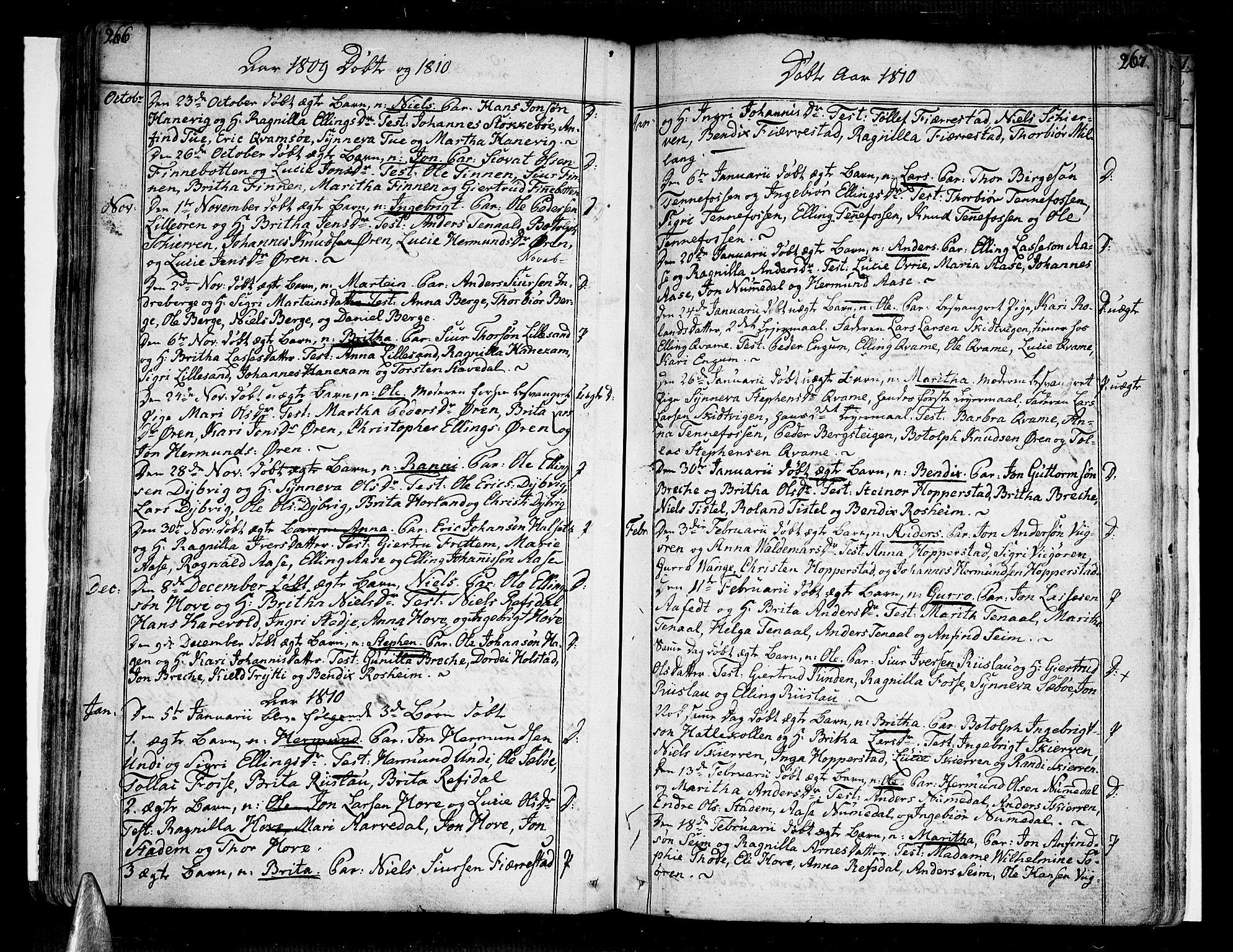 SAB, Vik Sokneprestembete, Ministerialbok nr. A 5, 1787-1820, s. 266-267