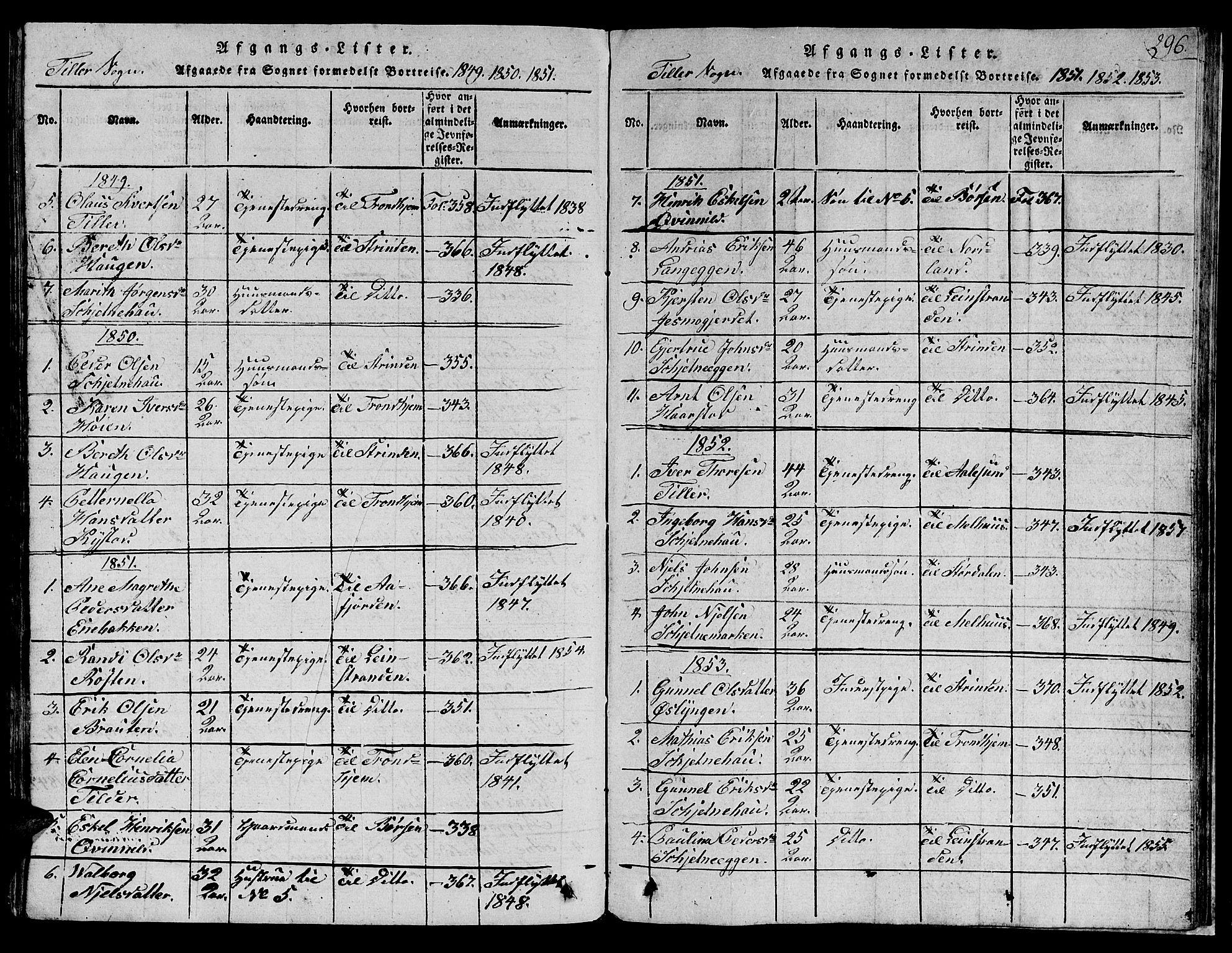 SAT, Ministerialprotokoller, klokkerbøker og fødselsregistre - Sør-Trøndelag, 621/L0458: Klokkerbok nr. 621C01, 1816-1865, s. 296