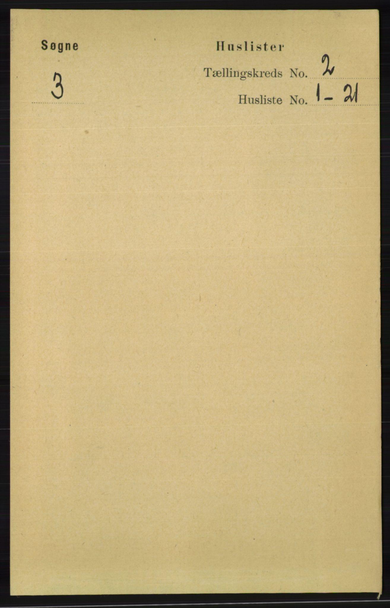 RA, Folketelling 1891 for 1018 Søgne herred, 1891, s. 134