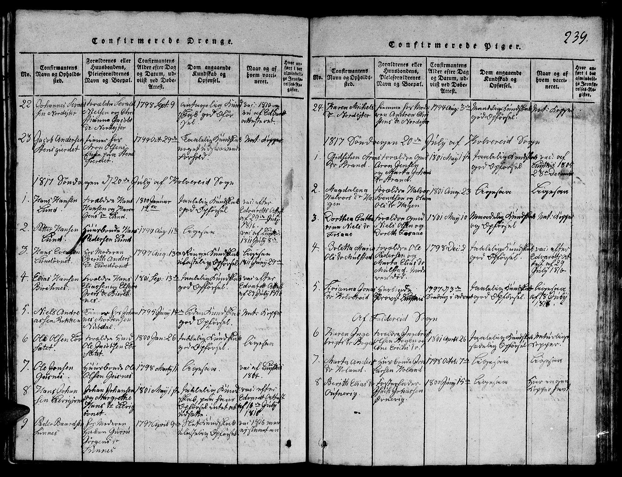 SAT, Ministerialprotokoller, klokkerbøker og fødselsregistre - Nord-Trøndelag, 780/L0648: Klokkerbok nr. 780C01 /1, 1815-1870, s. 239