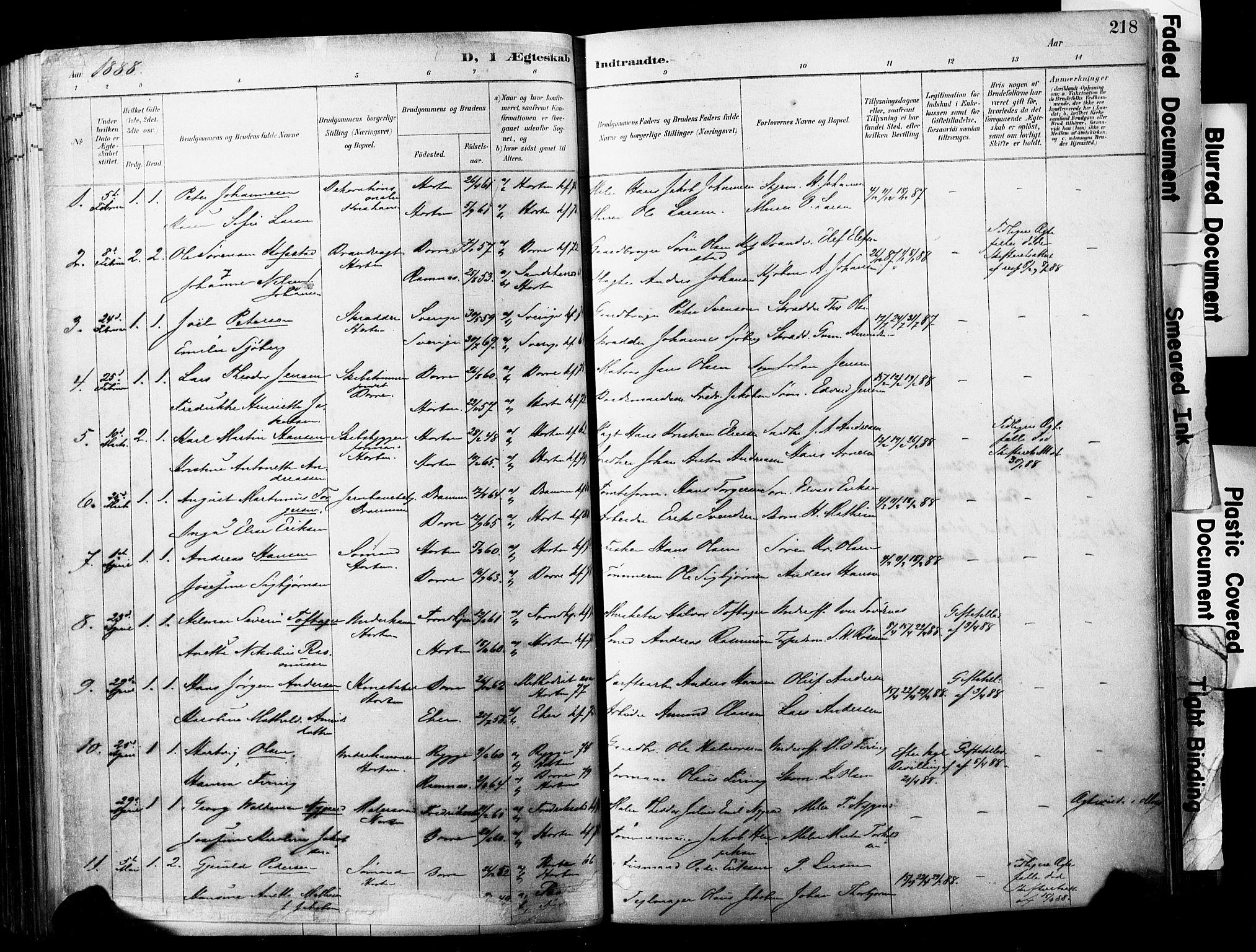 SAKO, Horten kirkebøker, F/Fa/L0004: Ministerialbok nr. 4, 1888-1895, s. 218