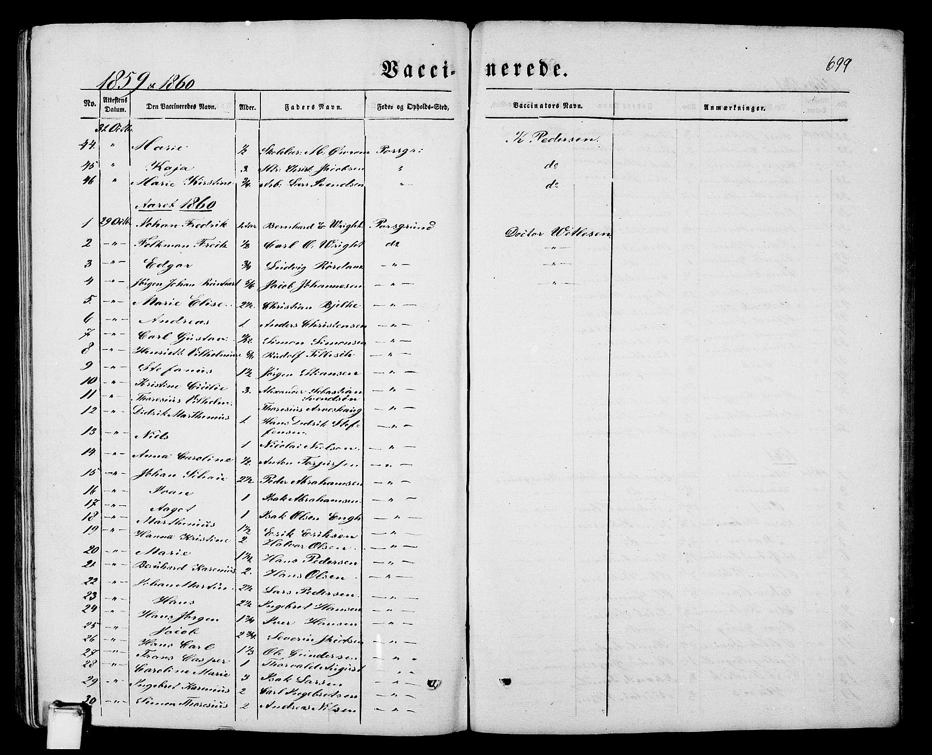 SAKO, Porsgrunn kirkebøker , G/Gb/L0004: Klokkerbok nr. II 4, 1853-1882, s. 699