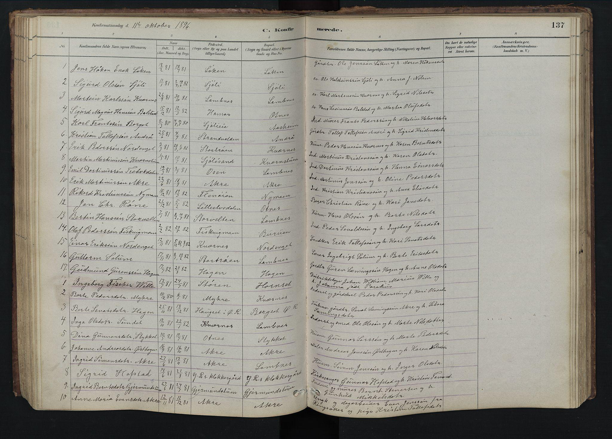 SAH, Rendalen prestekontor, H/Ha/Hab/L0009: Klokkerbok nr. 9, 1879-1902, s. 137
