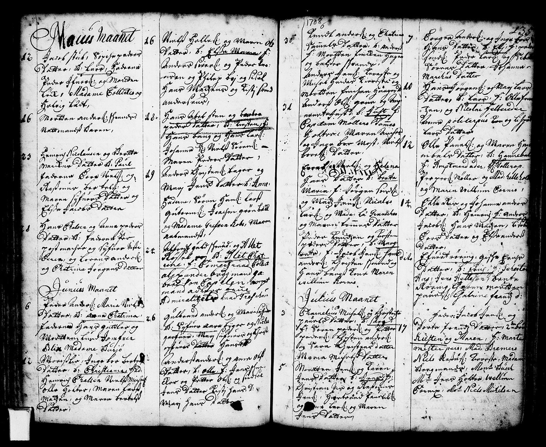 SAO, Oslo domkirke Kirkebøker, F/Fa/L0002: Ministerialbok nr. 2, 1705-1730, s. 135