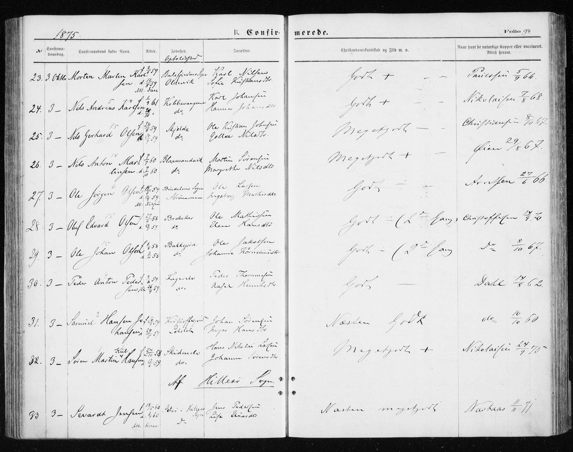 SATØ, Tromsøysund sokneprestkontor, G/Ga/L0003kirke: Ministerialbok nr. 3, 1875-1880, s. 94