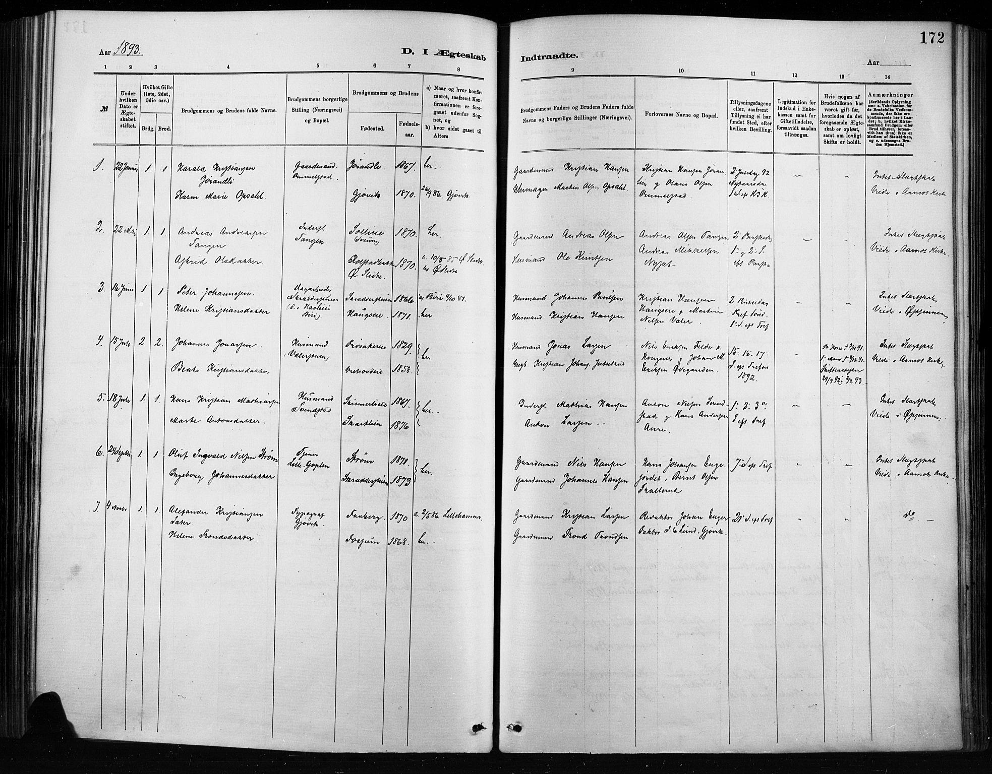SAH, Nordre Land prestekontor, Ministerialbok nr. 4, 1882-1896, s. 172