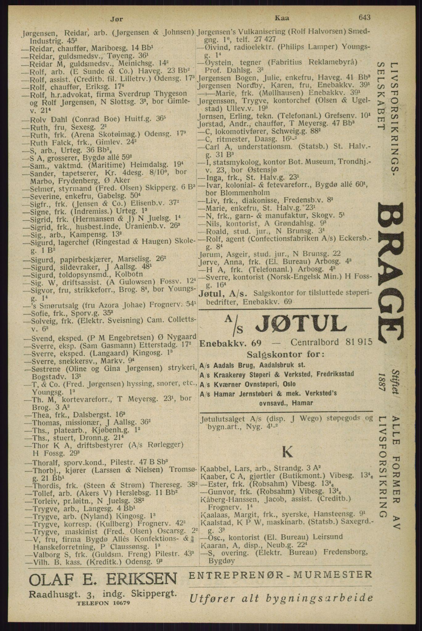 RA, Oslo adressebok (publikasjon)*, 1929, s. 643