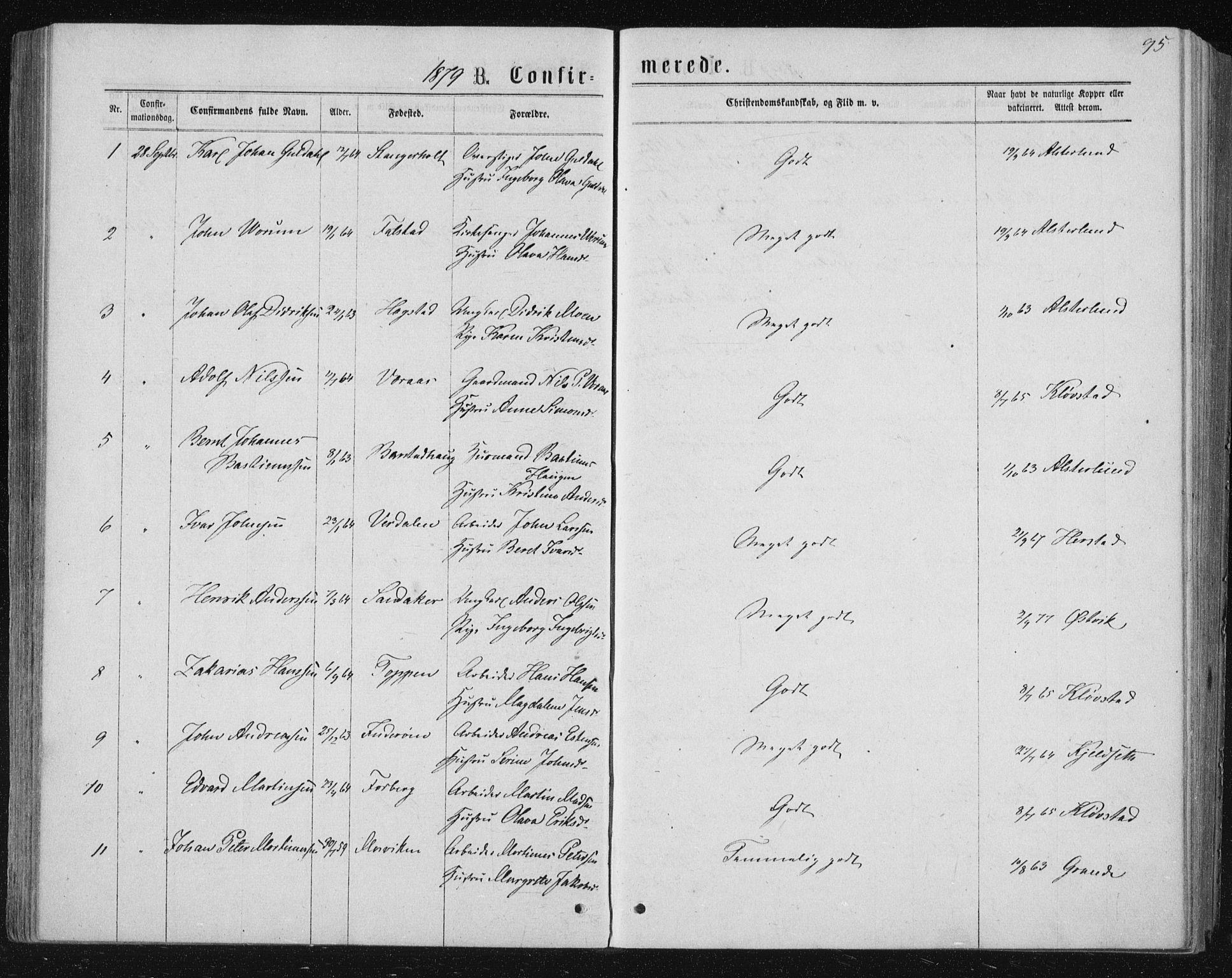 SAT, Ministerialprotokoller, klokkerbøker og fødselsregistre - Nord-Trøndelag, 722/L0219: Ministerialbok nr. 722A06, 1868-1880, s. 95