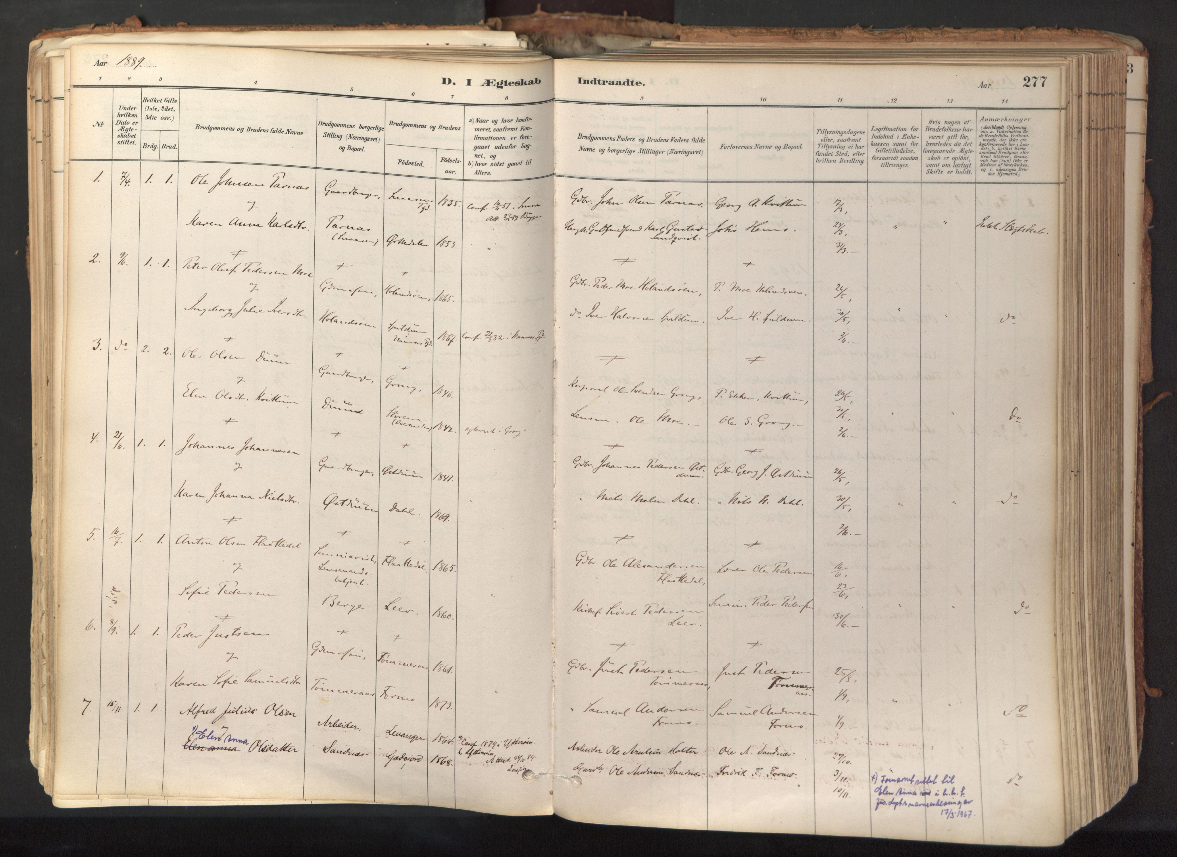 SAT, Ministerialprotokoller, klokkerbøker og fødselsregistre - Nord-Trøndelag, 758/L0519: Ministerialbok nr. 758A04, 1880-1926, s. 277