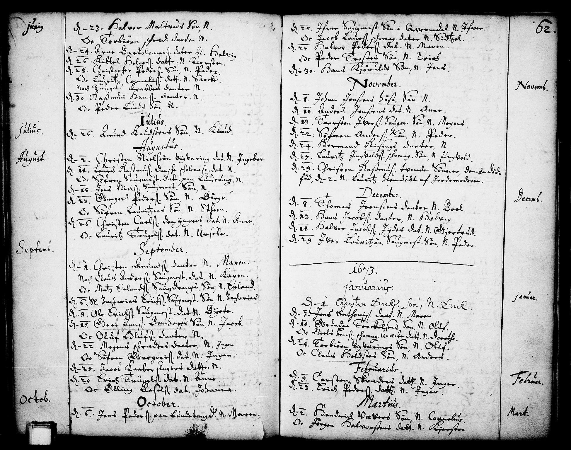 SAKO, Skien kirkebøker, F/Fa/L0001: Ministerialbok nr. 1, 1659-1679, s. 62