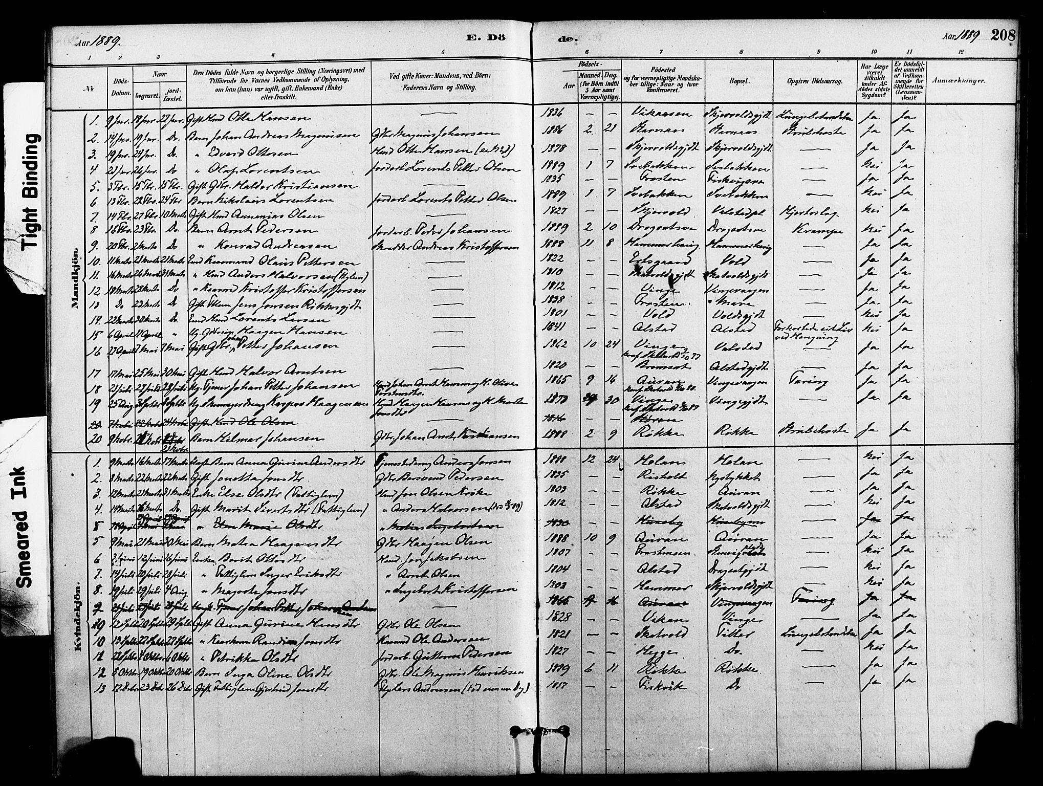 SAT, Ministerialprotokoller, klokkerbøker og fødselsregistre - Nord-Trøndelag, 712/L0100: Ministerialbok nr. 712A01, 1880-1900, s. 208
