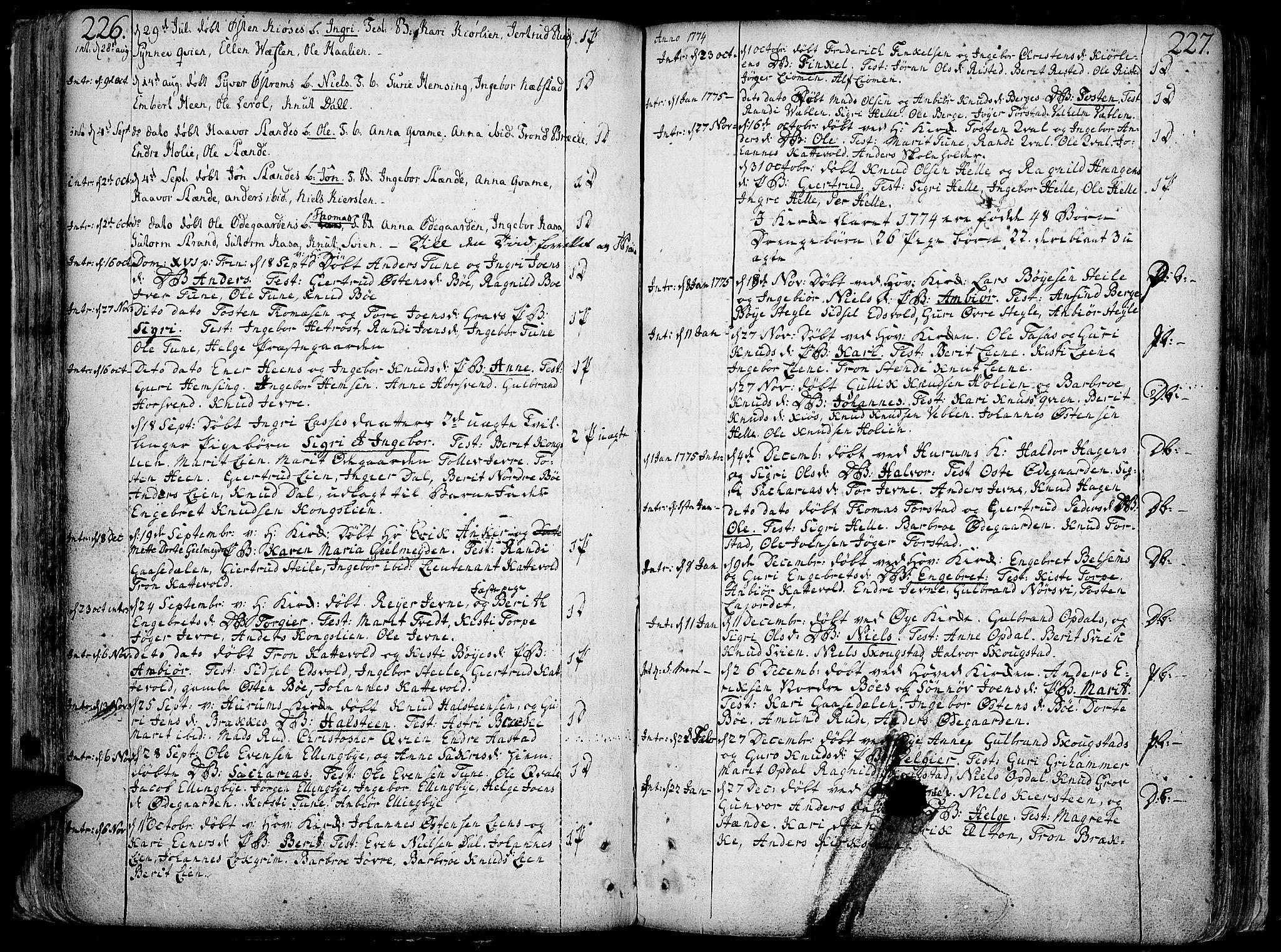SAH, Vang prestekontor, Valdres, Ministerialbok nr. 1, 1730-1796, s. 226-227