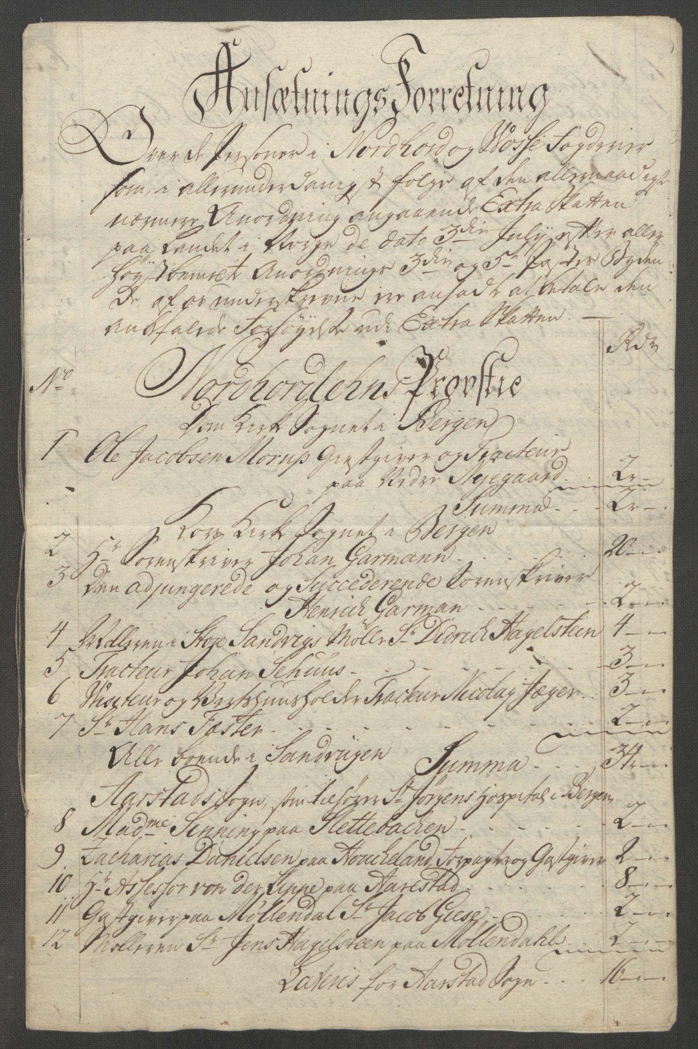 RA, Rentekammeret inntil 1814, Reviderte regnskaper, Fogderegnskap, R51/L3303: Ekstraskatten Nordhordland og Voss, 1762-1772, s. 361