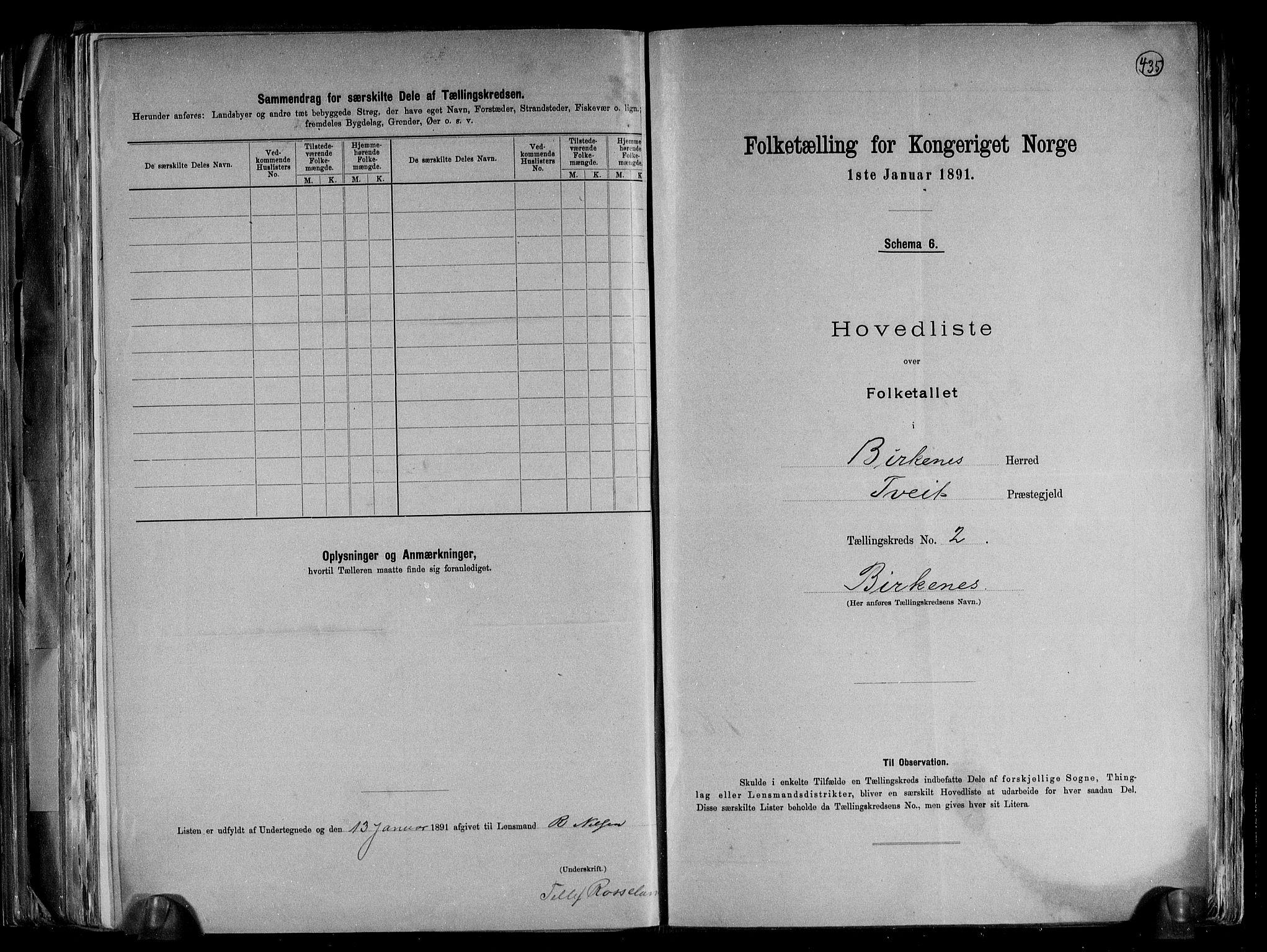 RA, Folketelling 1891 for 0928 Birkenes herred, 1891, s. 7