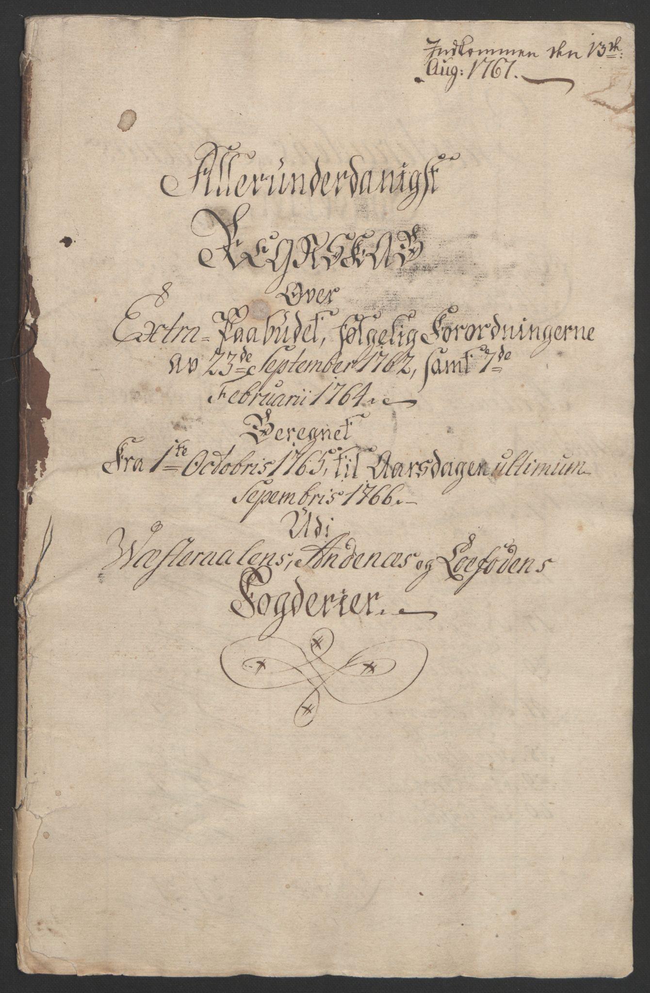 RA, Rentekammeret inntil 1814, Reviderte regnskaper, Fogderegnskap, R67/L4747: Ekstraskatten Vesterålen, Andenes og Lofoten, 1762-1766, s. 442