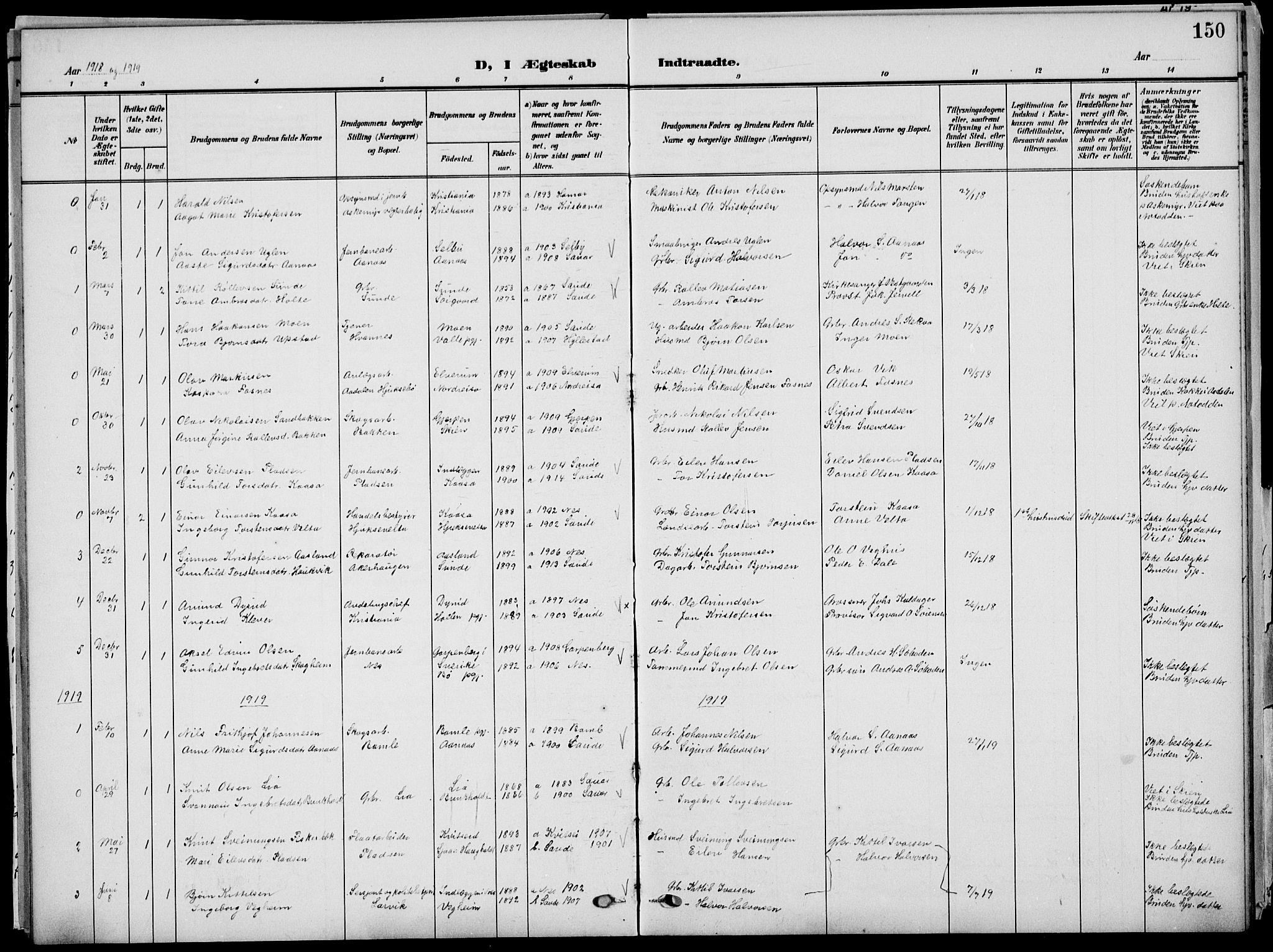 SAKO, Sauherad kirkebøker, G/Ga/L0004a: Klokkerbok nr. I 4, 1906-1934, s. 150