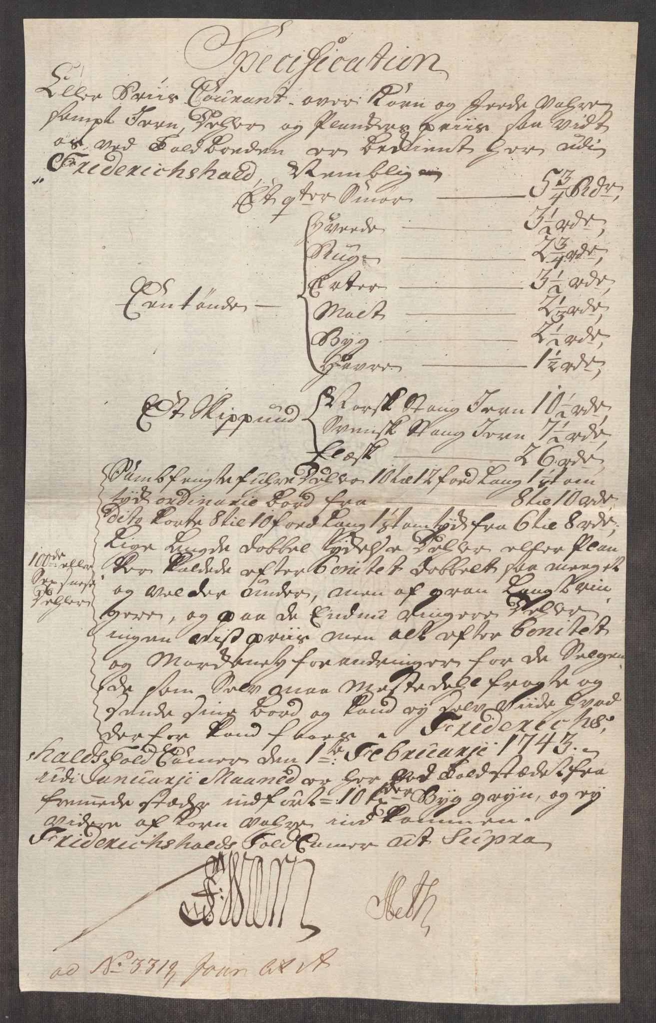 RA, Rentekammeret inntil 1814, Realistisk ordnet avdeling, Oe/L0002: [Ø1]: Priskuranter, 1740-1744, s. 606