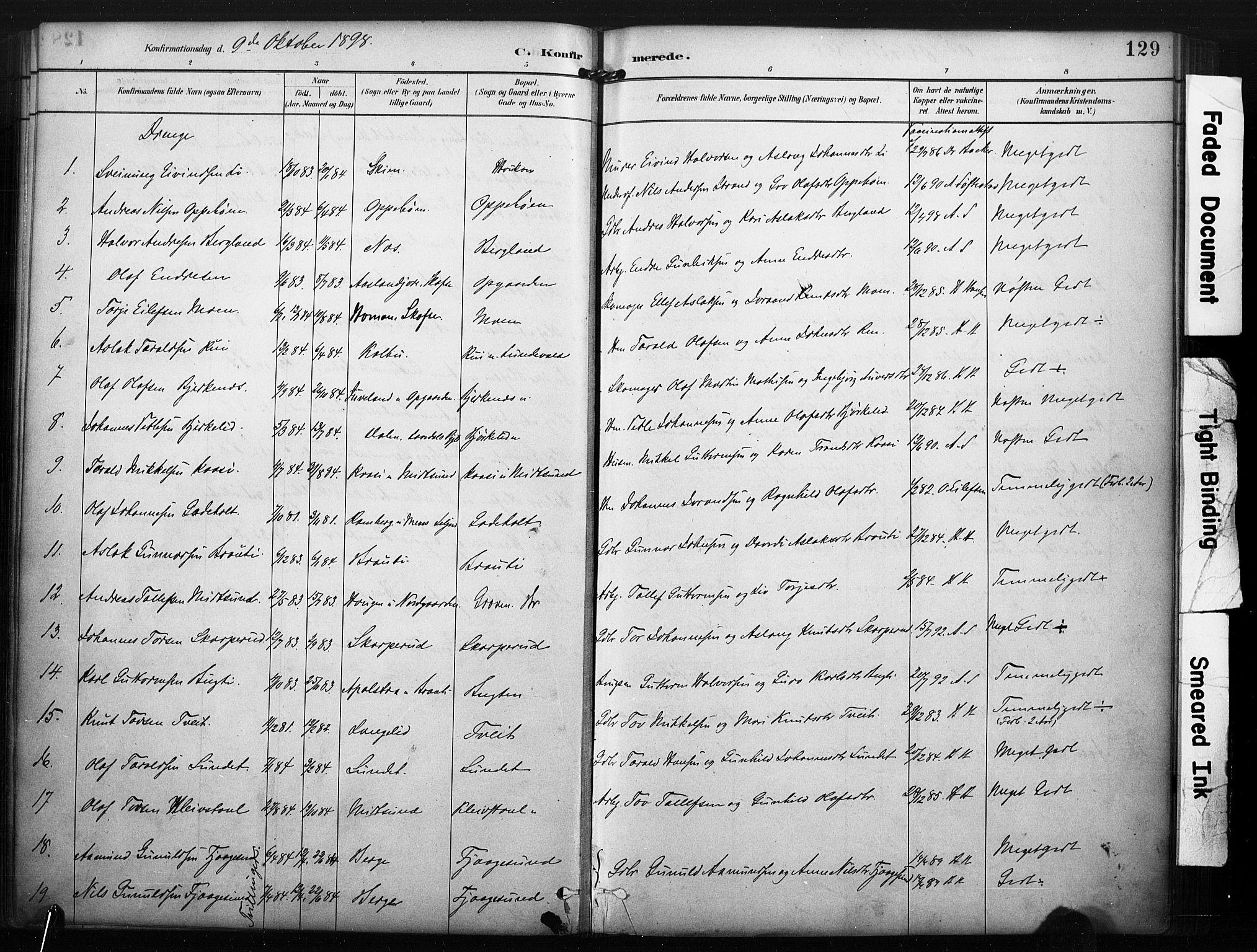 SAKO, Kviteseid kirkebøker, F/Fa/L0008: Ministerialbok nr. I 8, 1882-1903, s. 129