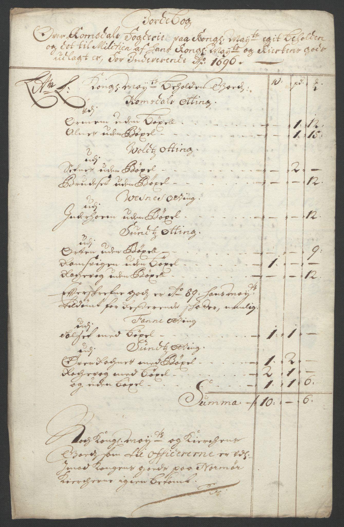 RA, Rentekammeret inntil 1814, Reviderte regnskaper, Fogderegnskap, R55/L3652: Fogderegnskap Romsdal, 1695-1696, s. 257