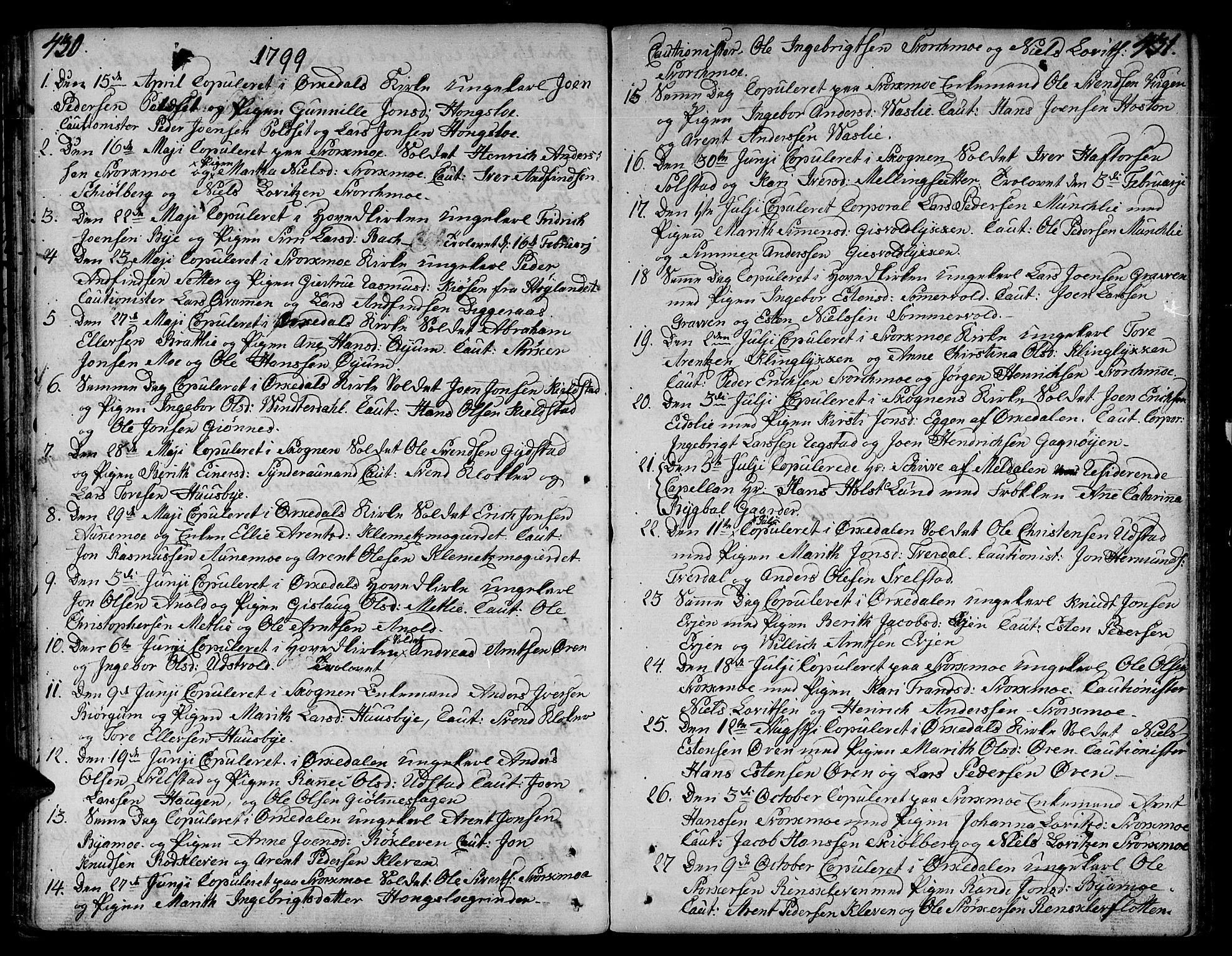 SAT, Ministerialprotokoller, klokkerbøker og fødselsregistre - Sør-Trøndelag, 668/L0802: Ministerialbok nr. 668A02, 1776-1799, s. 430-431