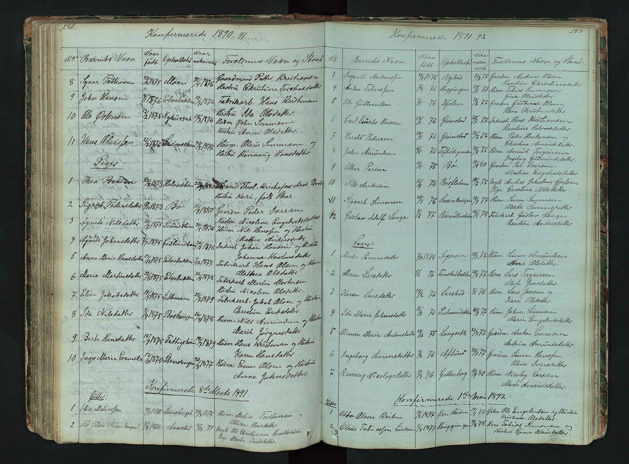 SAH, Gausdal prestekontor, Klokkerbok nr. 6, 1846-1893, s. 282-283