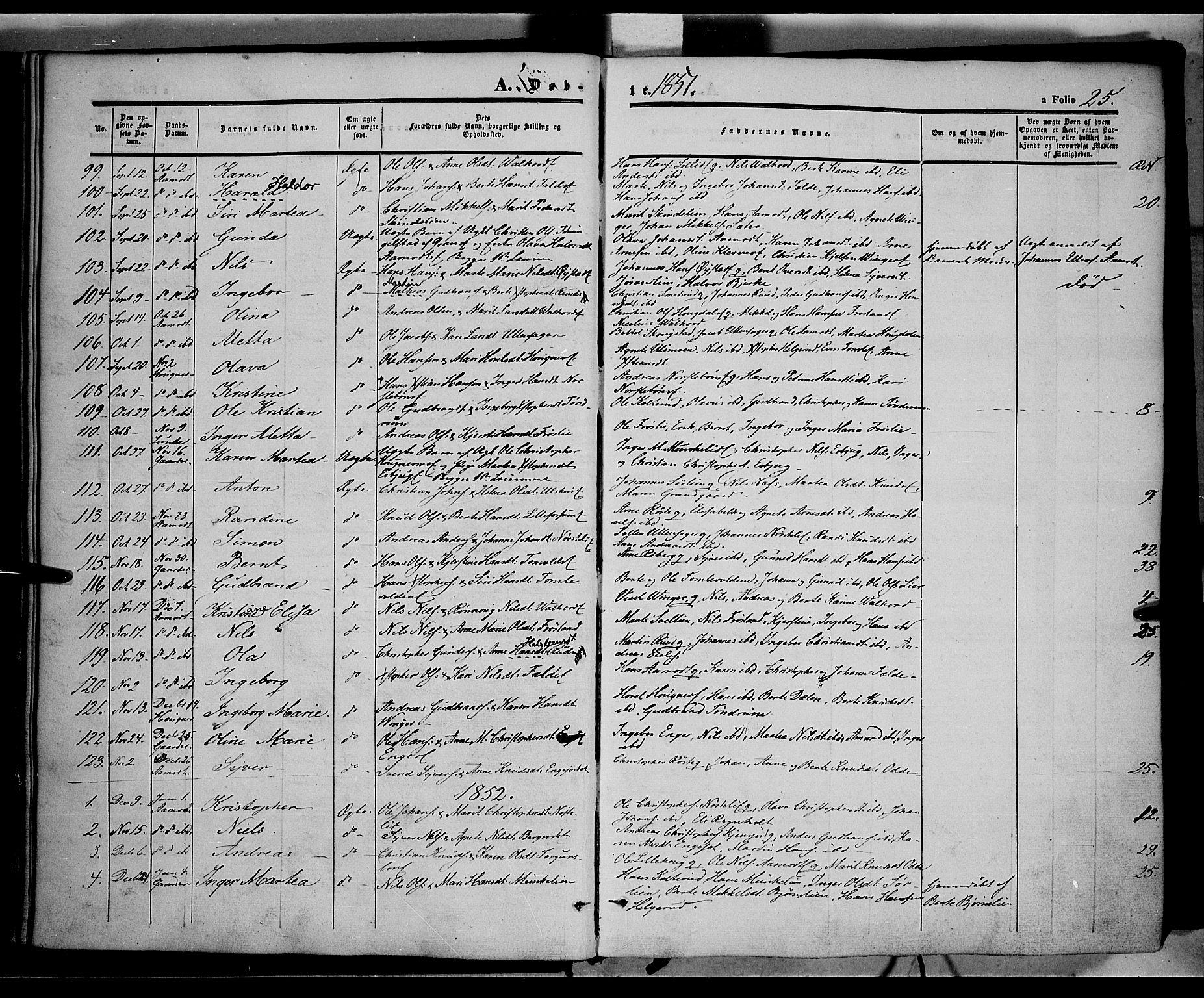 SAH, Land prestekontor, Ministerialbok nr. 10, 1847-1859, s. 25
