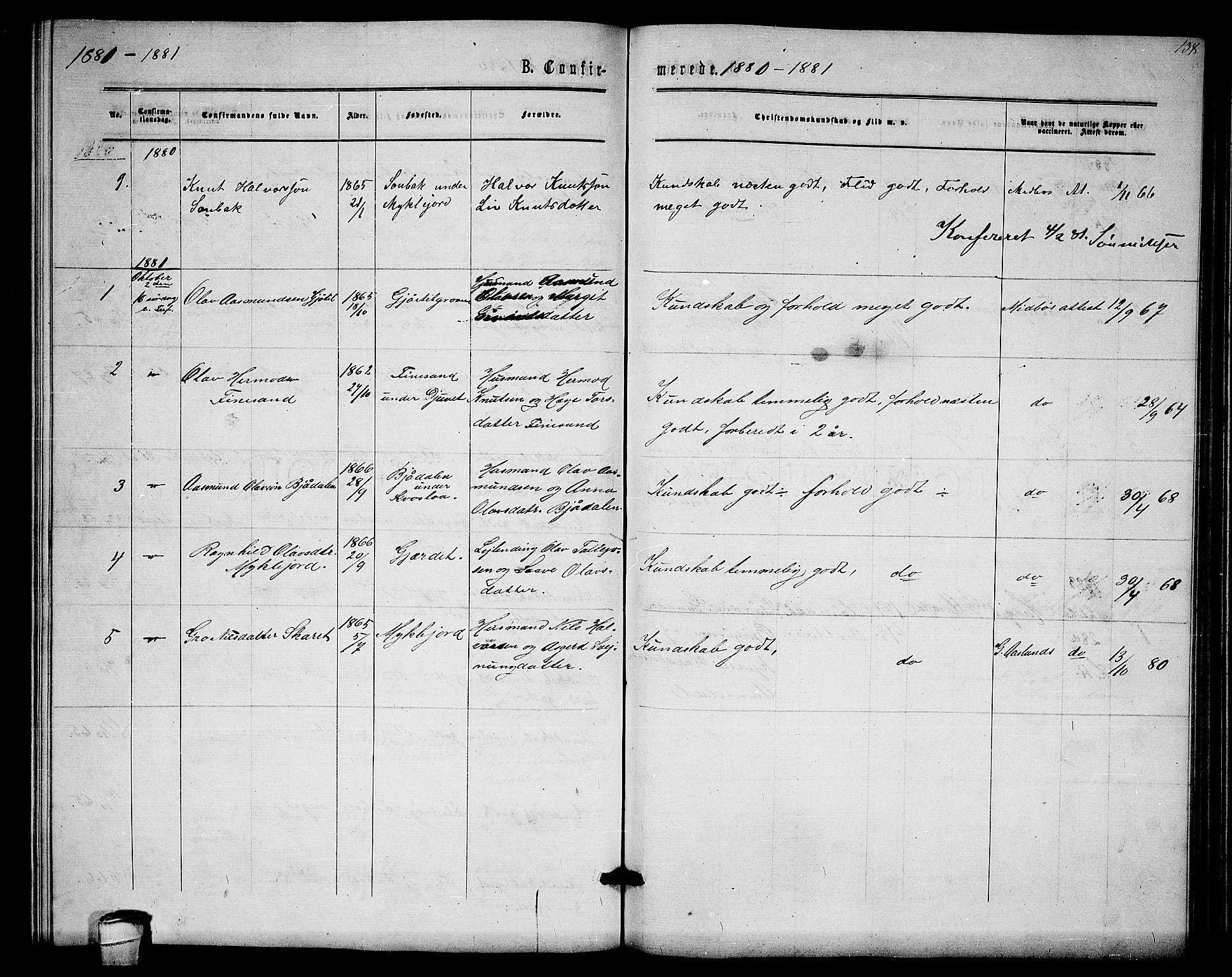 SAKO, Lårdal kirkebøker, G/Gb/L0002: Klokkerbok nr. II 2, 1865-1888, s. 138