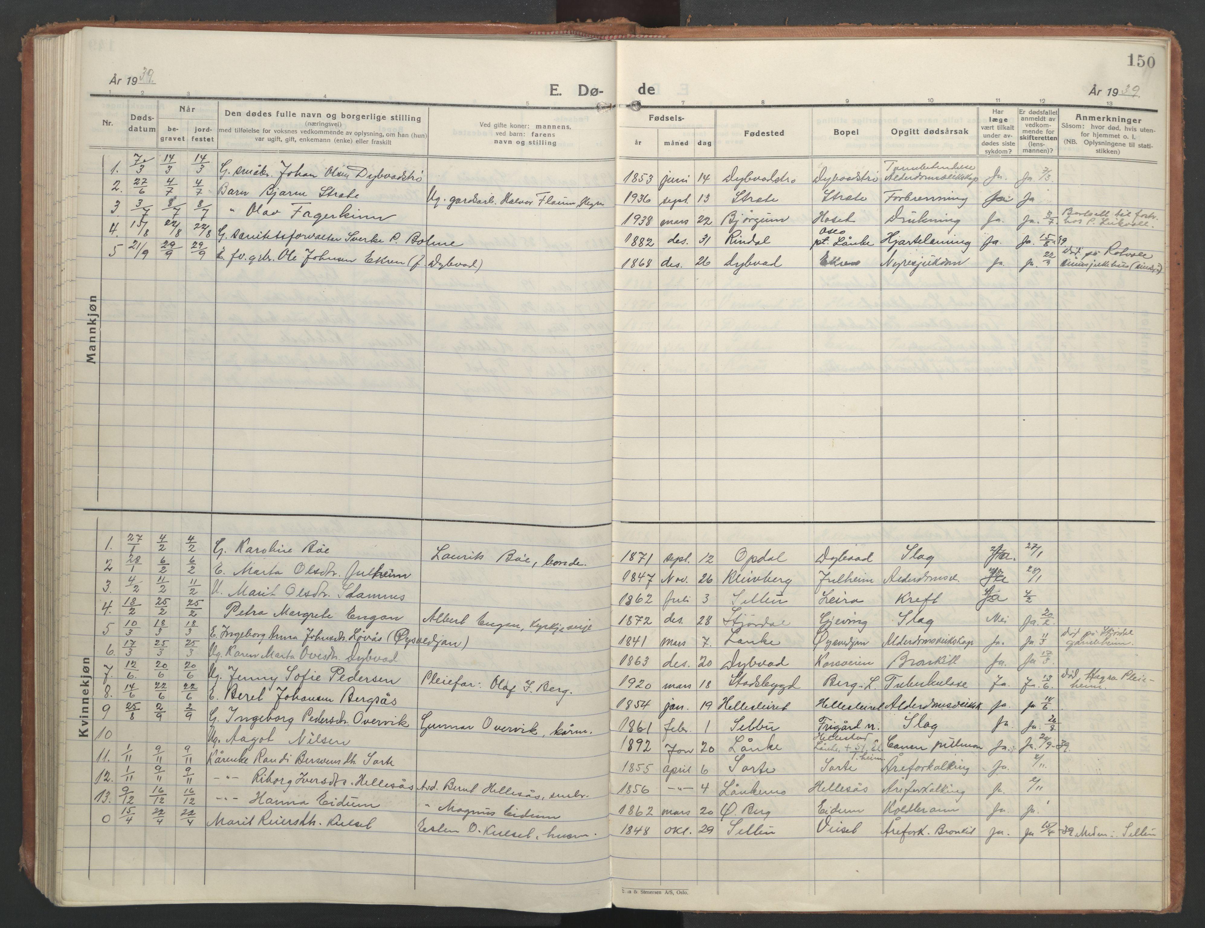 SAT, Ministerialprotokoller, klokkerbøker og fødselsregistre - Nord-Trøndelag, 710/L0097: Klokkerbok nr. 710C02, 1925-1955, s. 150