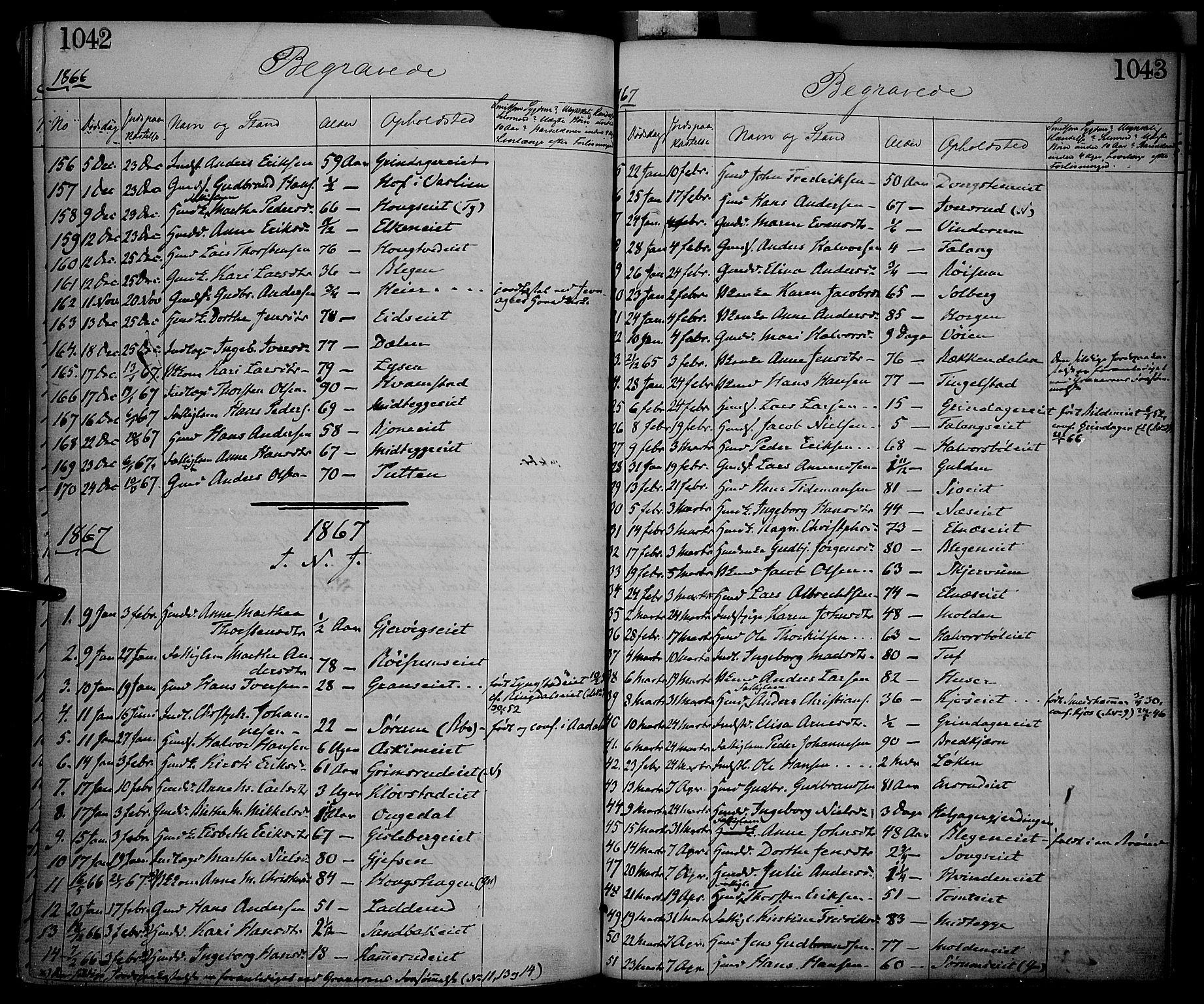SAH, Gran prestekontor, Ministerialbok nr. 12, 1856-1874, s. 1042-1043