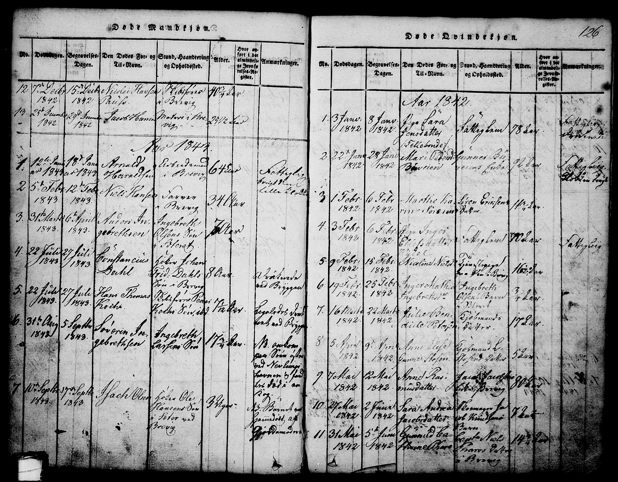 SAKO, Brevik kirkebøker, G/Ga/L0001: Klokkerbok nr. 1, 1814-1845, s. 126