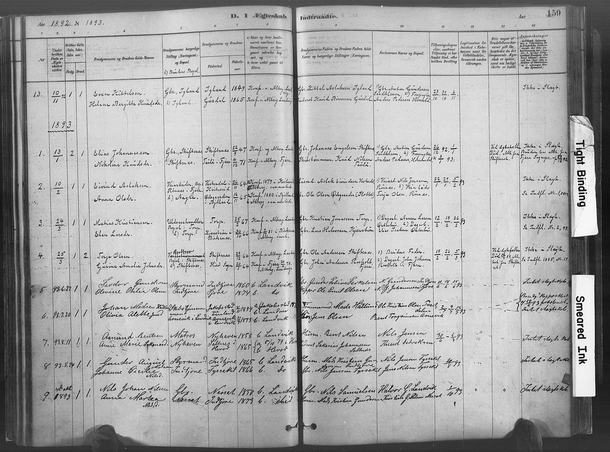 SAK, Hommedal sokneprestkontor, F/Fa/Fab/L0006: Ministerialbok nr. A 6, 1878-1897, s. 159