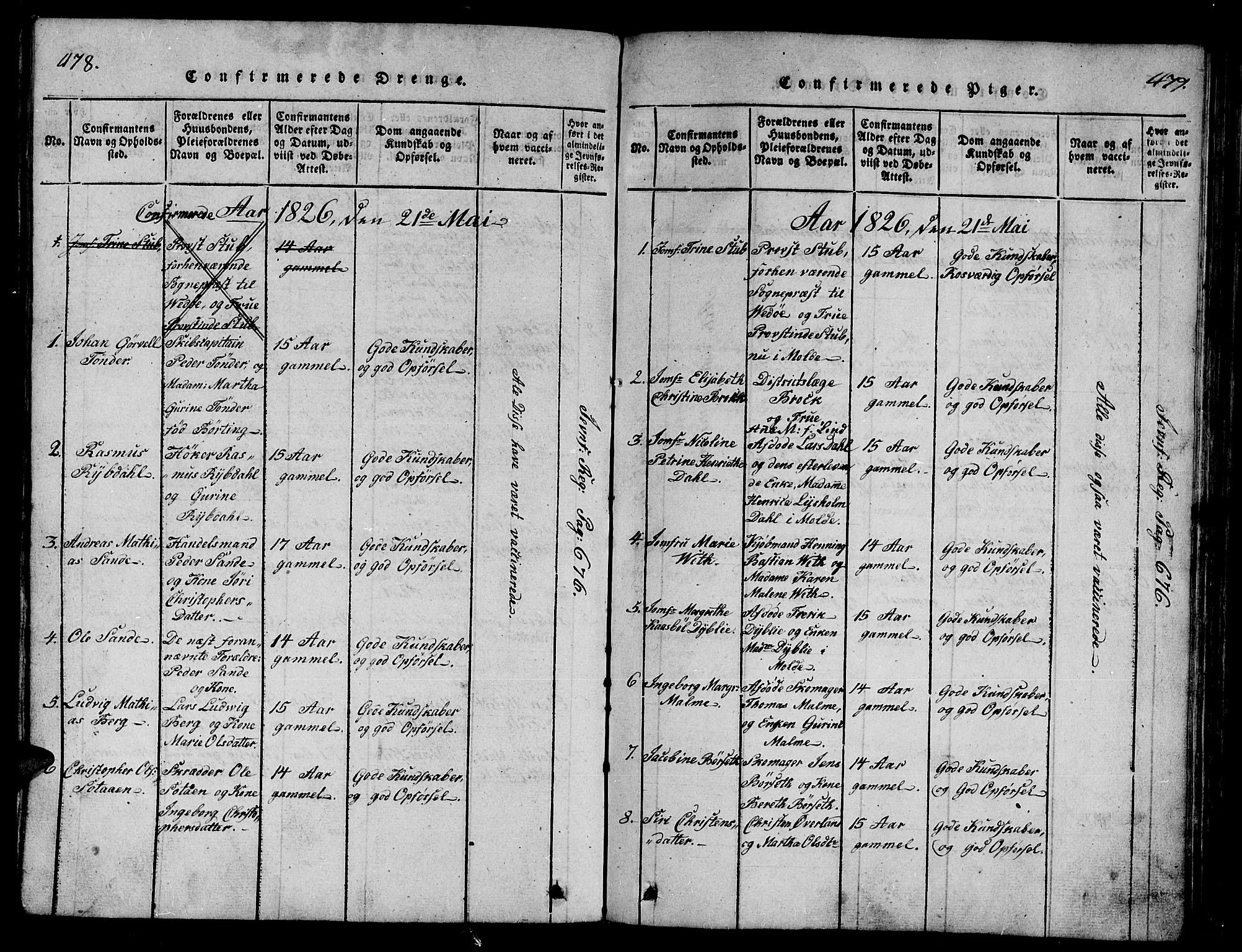 SAT, Ministerialprotokoller, klokkerbøker og fødselsregistre - Møre og Romsdal, 558/L0700: Klokkerbok nr. 558C01, 1818-1868, s. 478-479