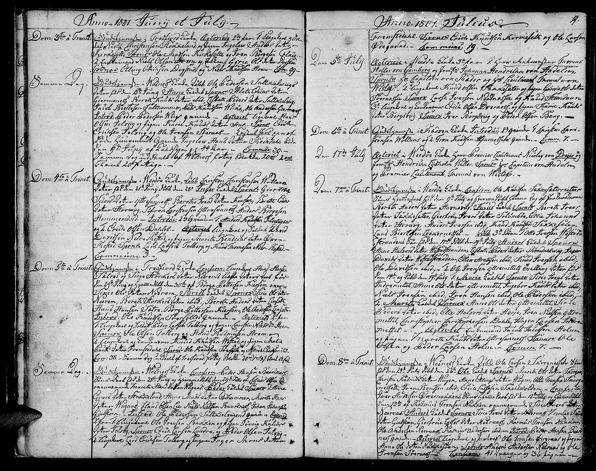 SAT, Ministerialprotokoller, klokkerbøker og fødselsregistre - Møre og Romsdal, 547/L0601: Ministerialbok nr. 547A03, 1799-1818, s. 19