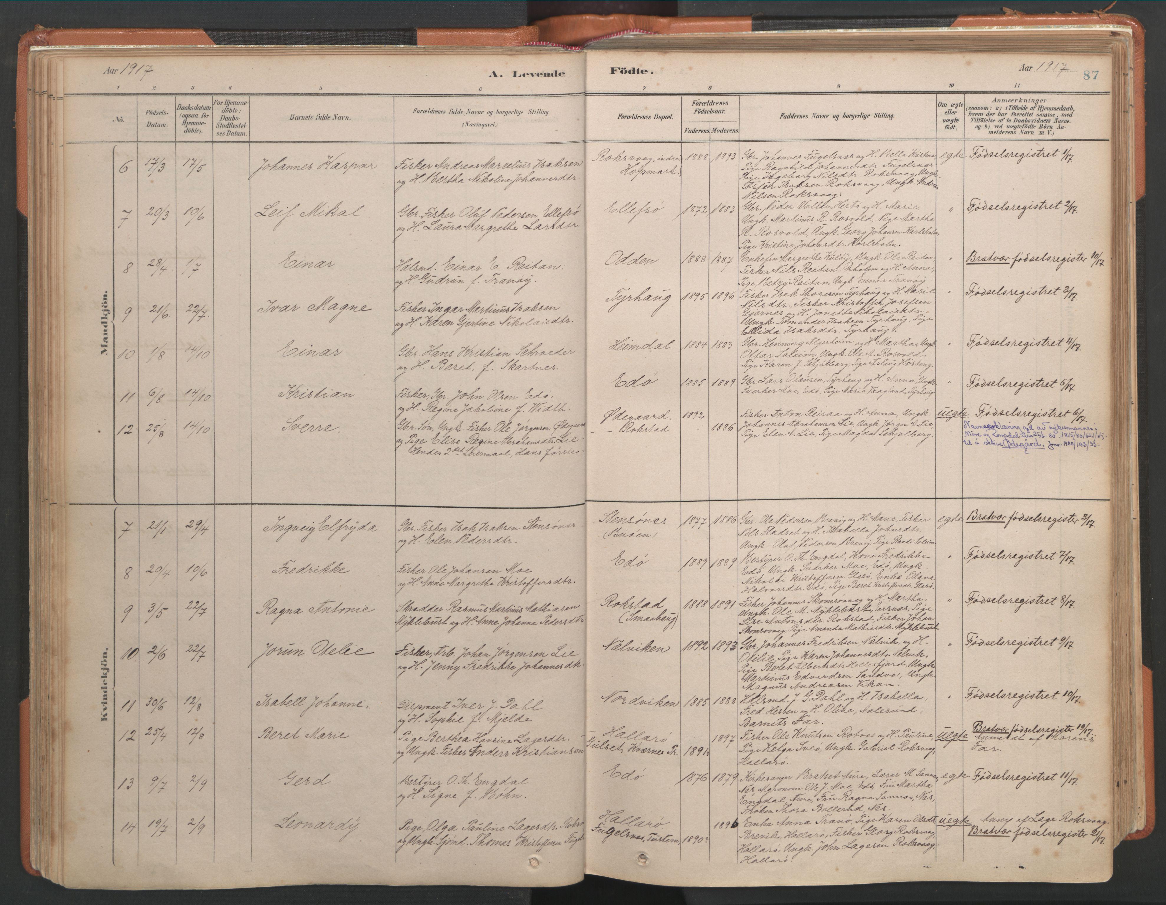 SAT, Ministerialprotokoller, klokkerbøker og fødselsregistre - Møre og Romsdal, 581/L0941: Ministerialbok nr. 581A09, 1880-1919, s. 87