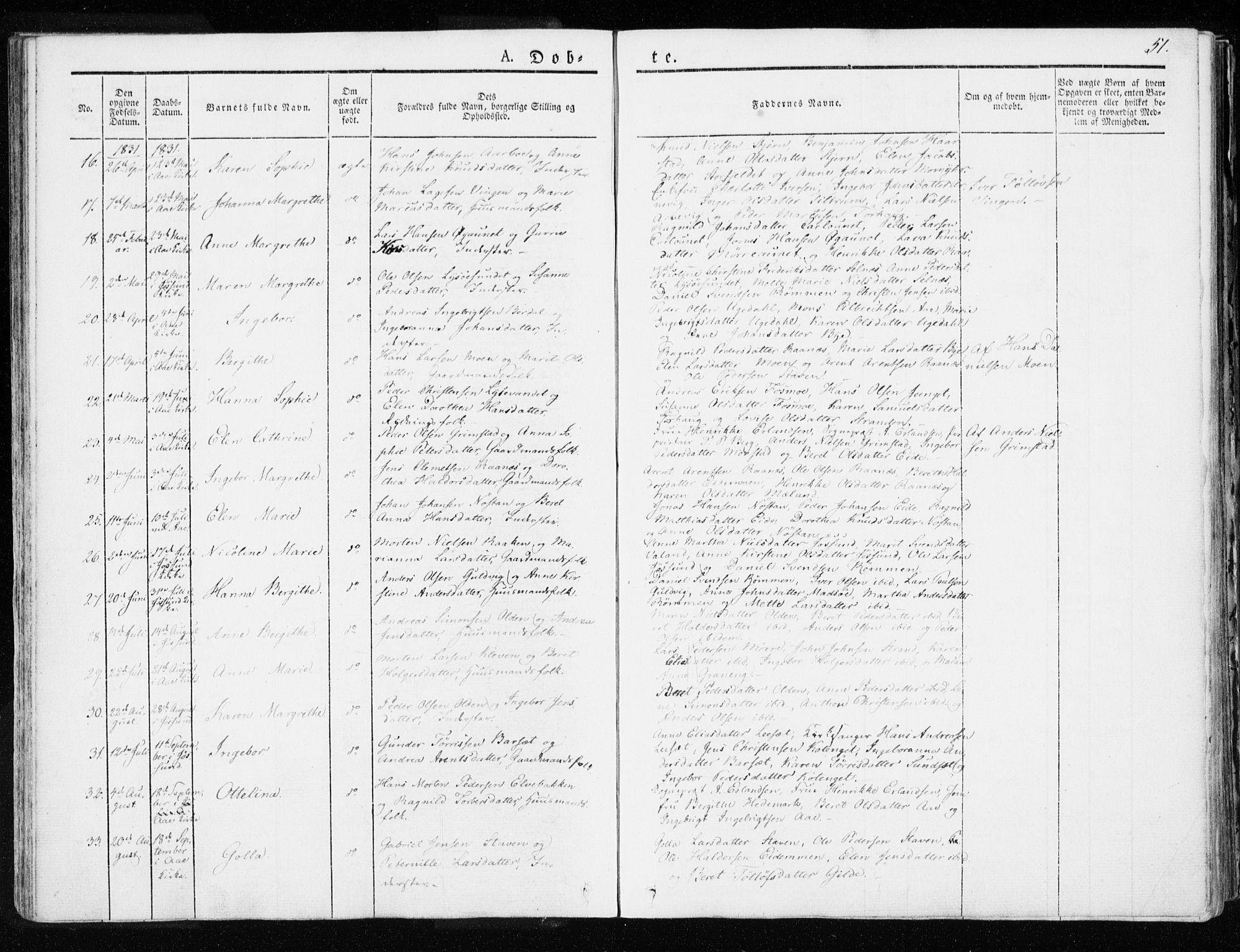 SAT, Ministerialprotokoller, klokkerbøker og fødselsregistre - Sør-Trøndelag, 655/L0676: Ministerialbok nr. 655A05, 1830-1847, s. 51