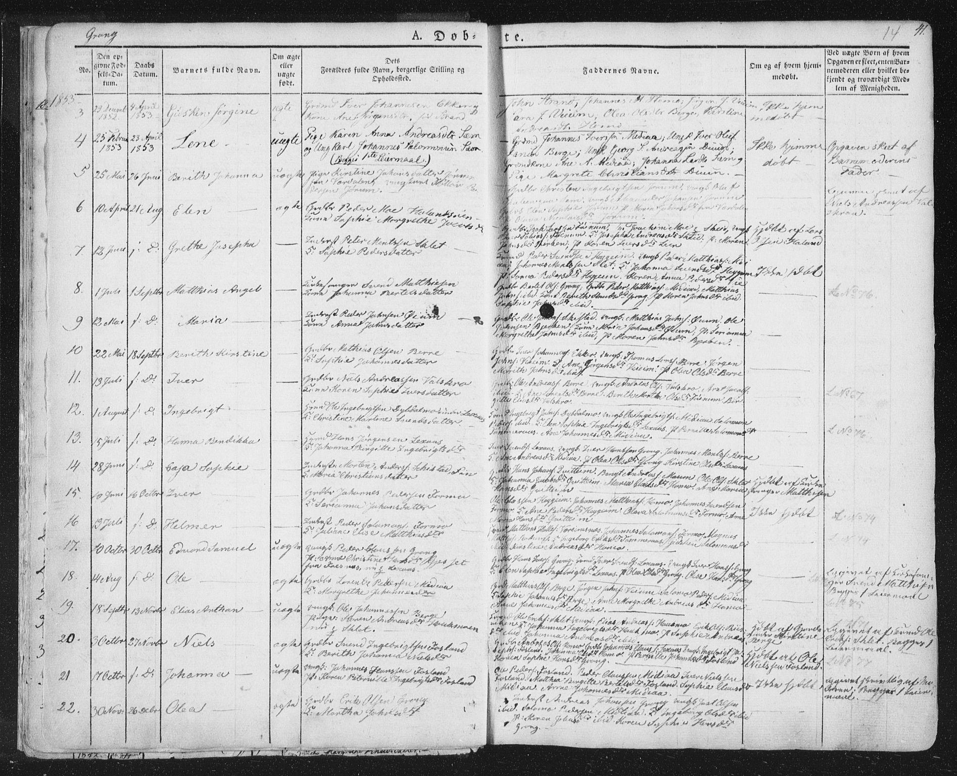 SAT, Ministerialprotokoller, klokkerbøker og fødselsregistre - Nord-Trøndelag, 758/L0513: Ministerialbok nr. 758A02 /1, 1839-1868, s. 14