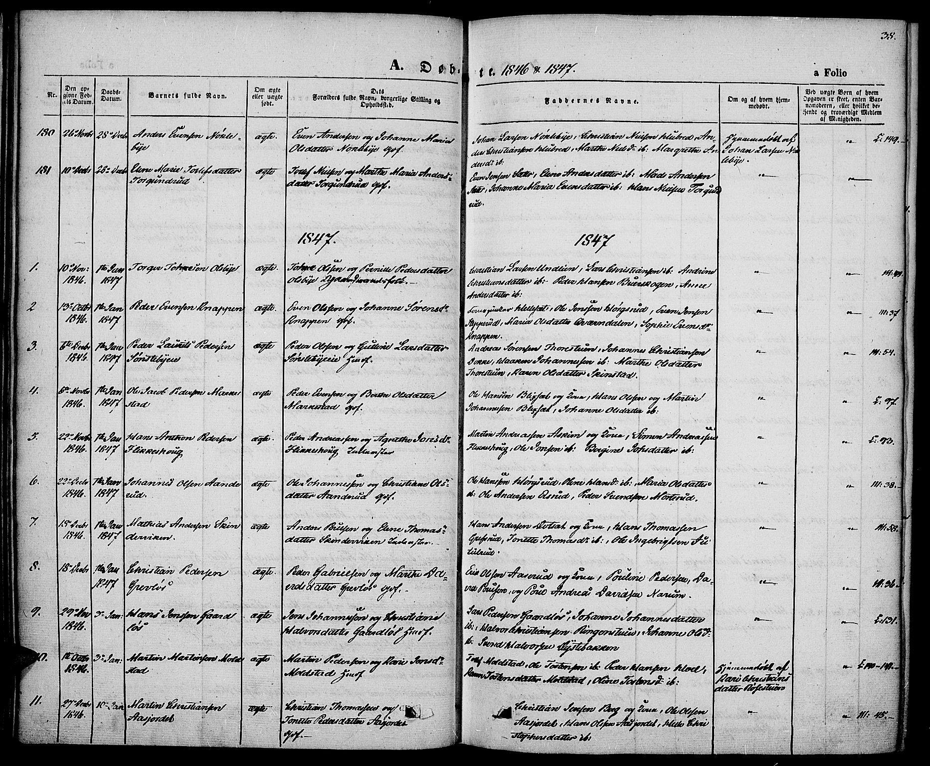 SAH, Vestre Toten prestekontor, Ministerialbok nr. 4, 1844-1849, s. 38