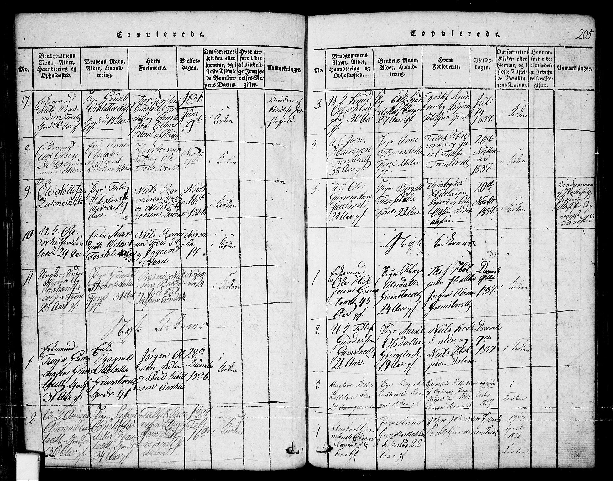 SAKO, Nissedal kirkebøker, G/Ga/L0001: Klokkerbok nr. I 1, 1814-1860, s. 205