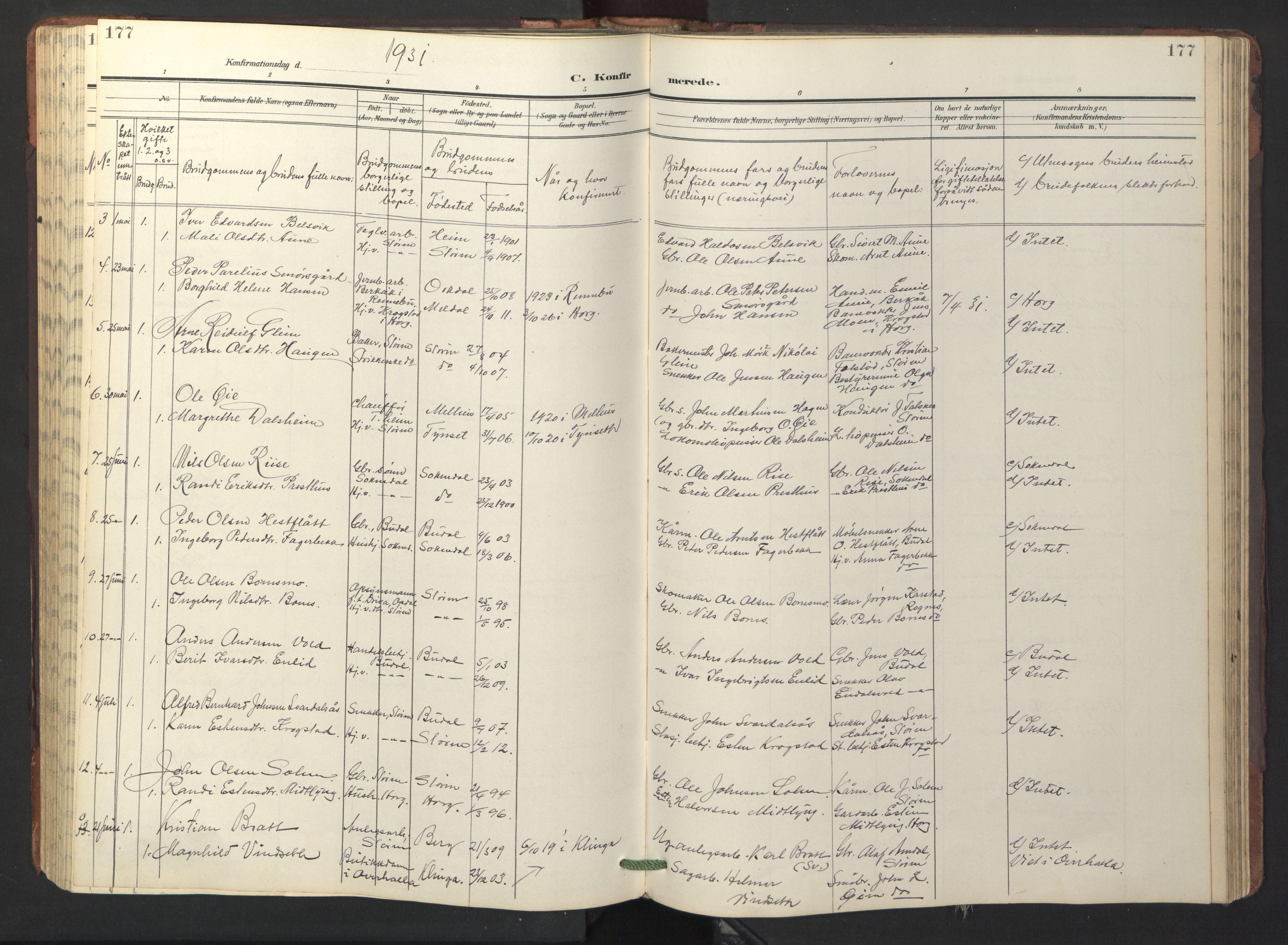 SAT, Ministerialprotokoller, klokkerbøker og fødselsregistre - Sør-Trøndelag, 687/L1019: Klokkerbok nr. 687C03, 1904-1931, s. 177