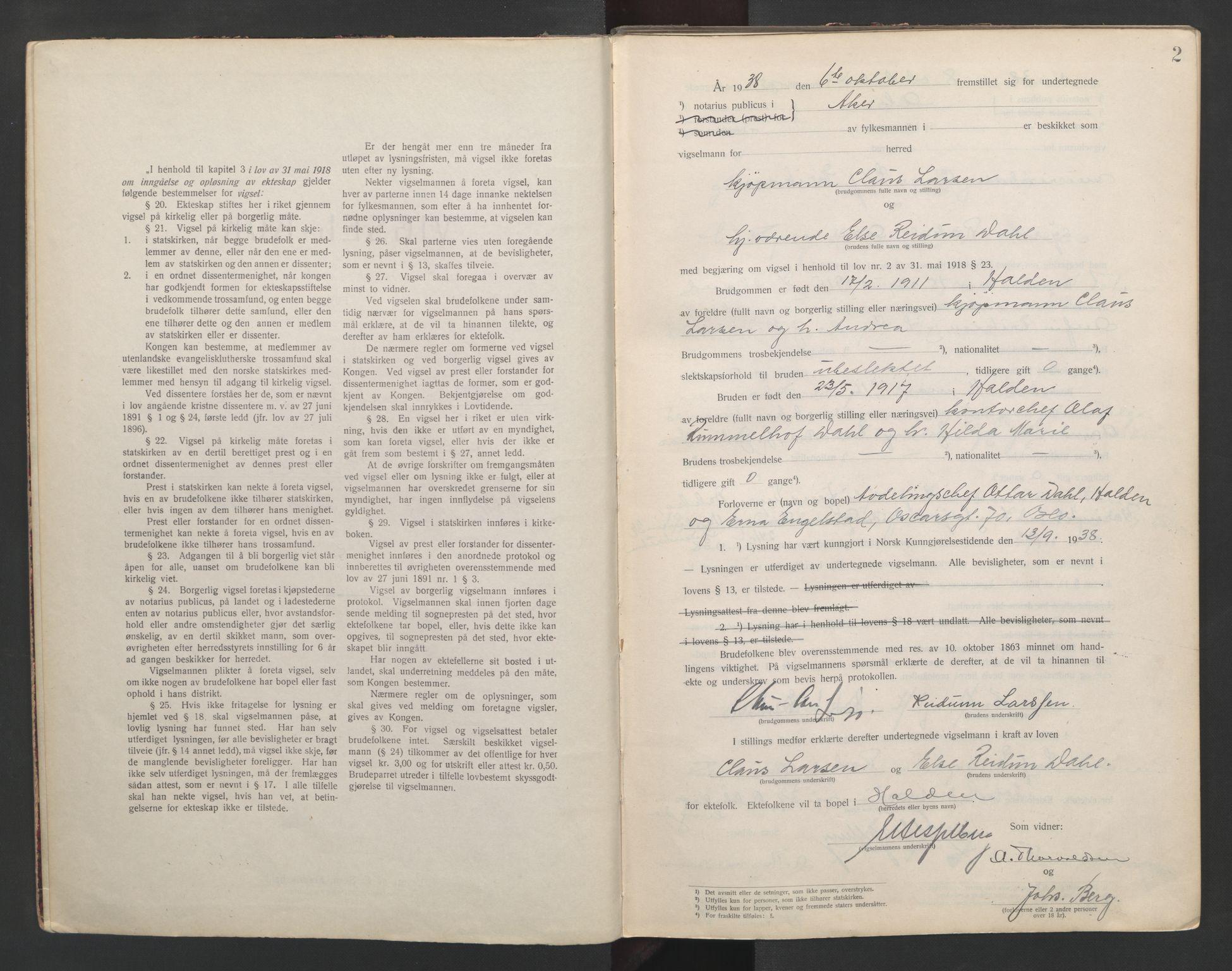 SAO, Aker sorenskriveri, L/Lc/Lcb/L0011: Vigselprotokoll, 1938-1939, s. 2
